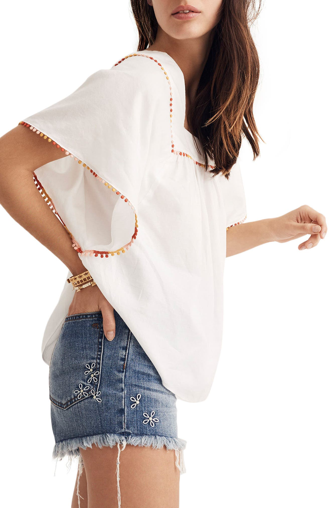 Pompom Butterfly Top,                             Alternate thumbnail 3, color,                             White Wash