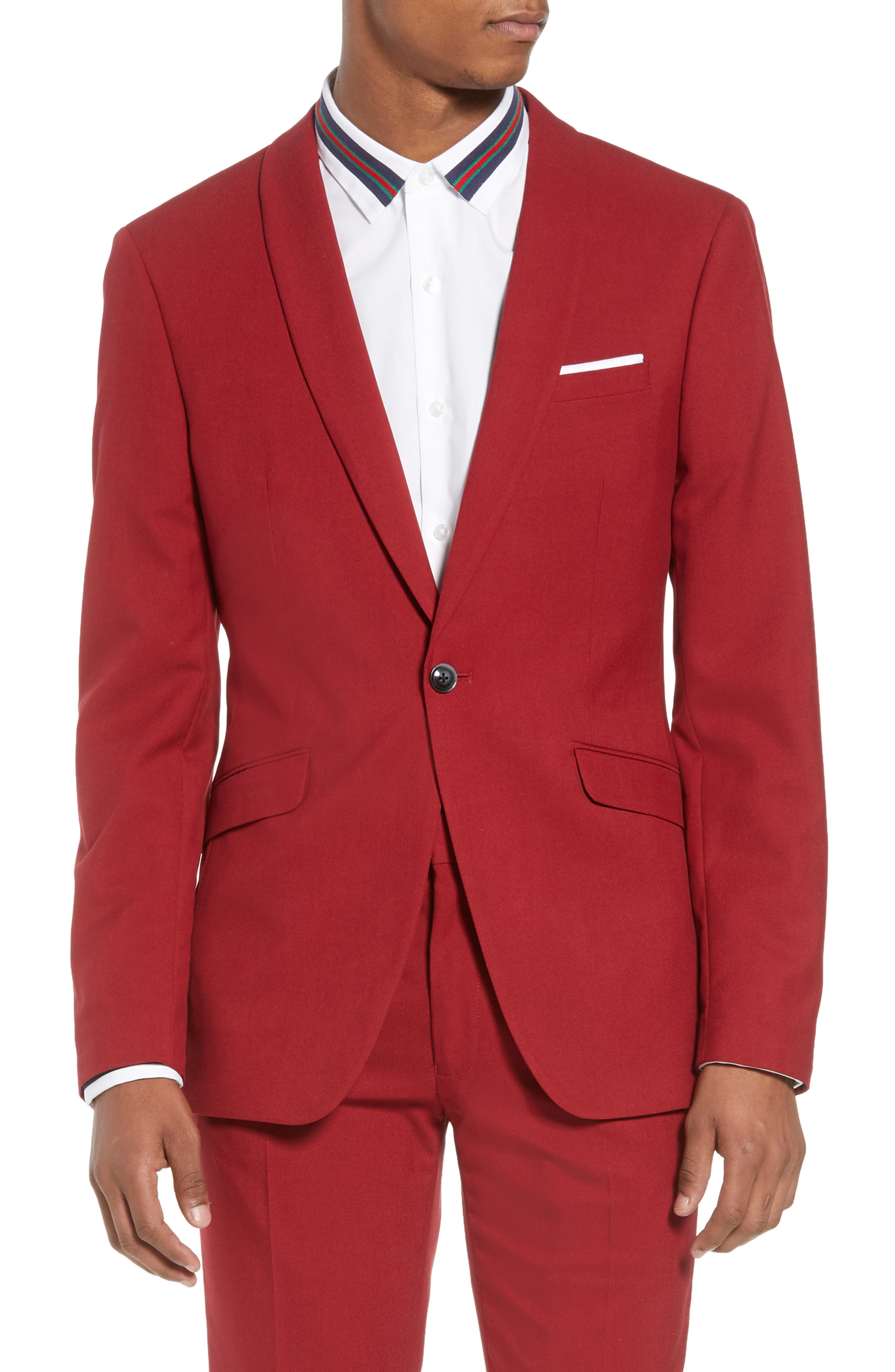 Skinny Fit Suit Jacket,                             Main thumbnail 1, color,                             Red