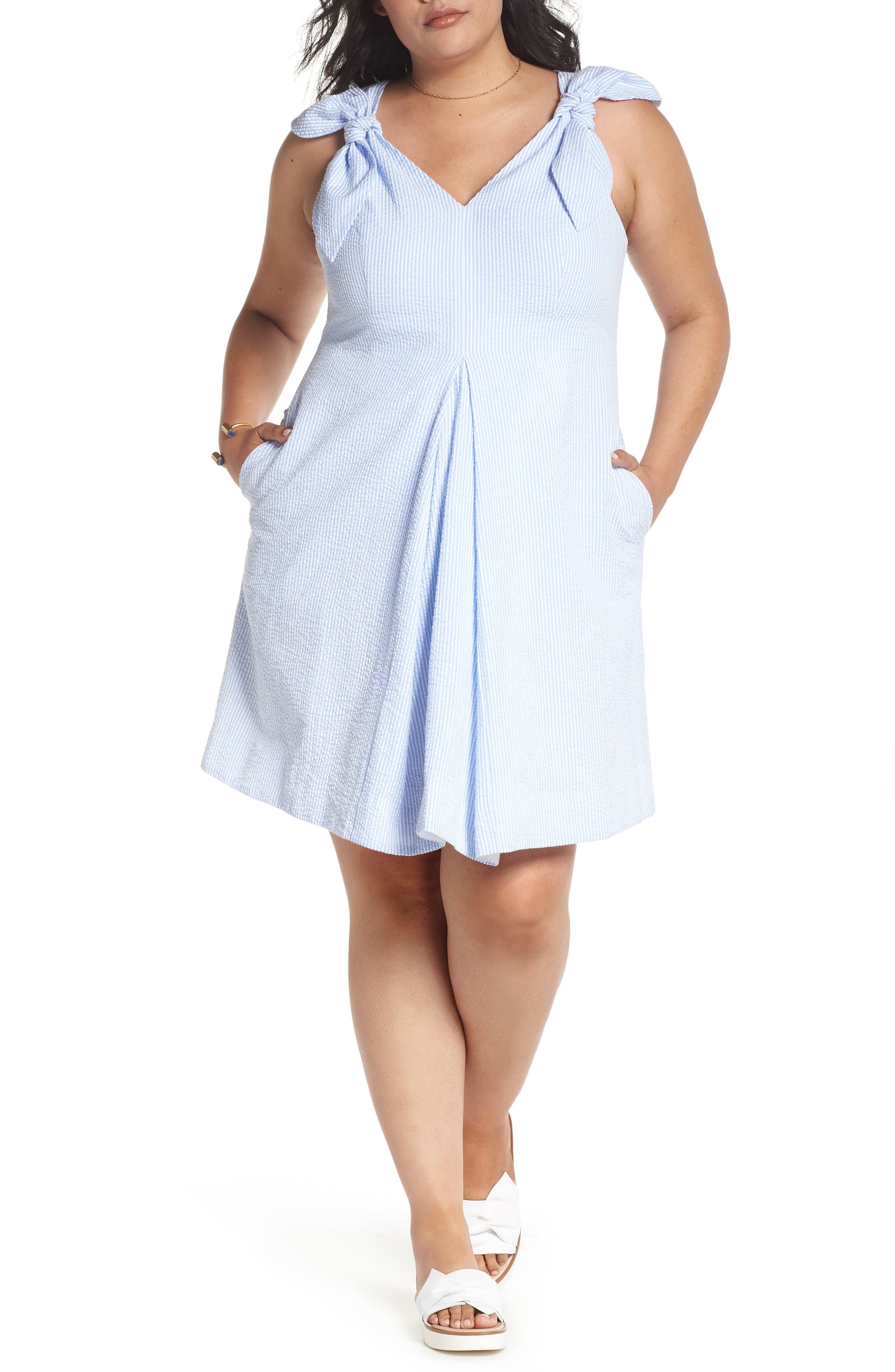 Bow Shoulder Seersucker Dress,                             Main thumbnail 1, color,                             Blue Seersucker Stripe