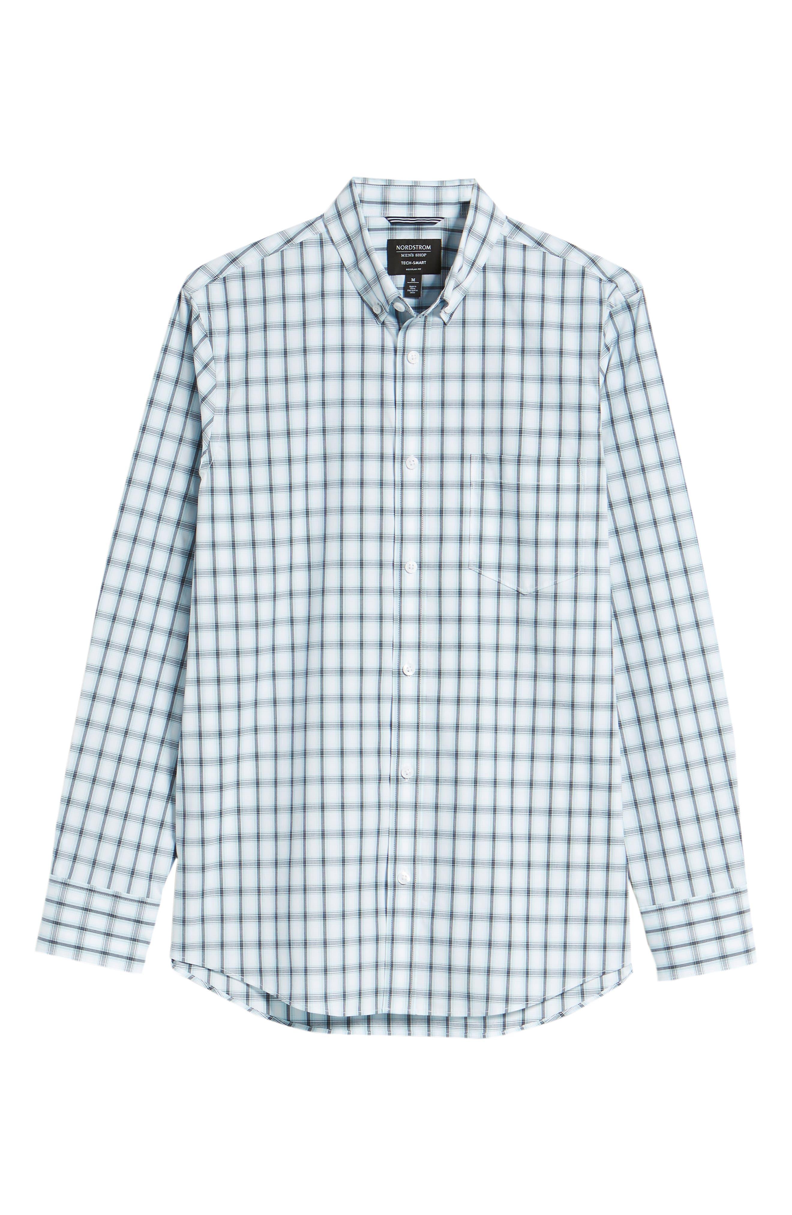 Tech-Smart Regular Fit Check Sport Shirt,                             Alternate thumbnail 6, color,                             Blue Orydalis Ombre Check