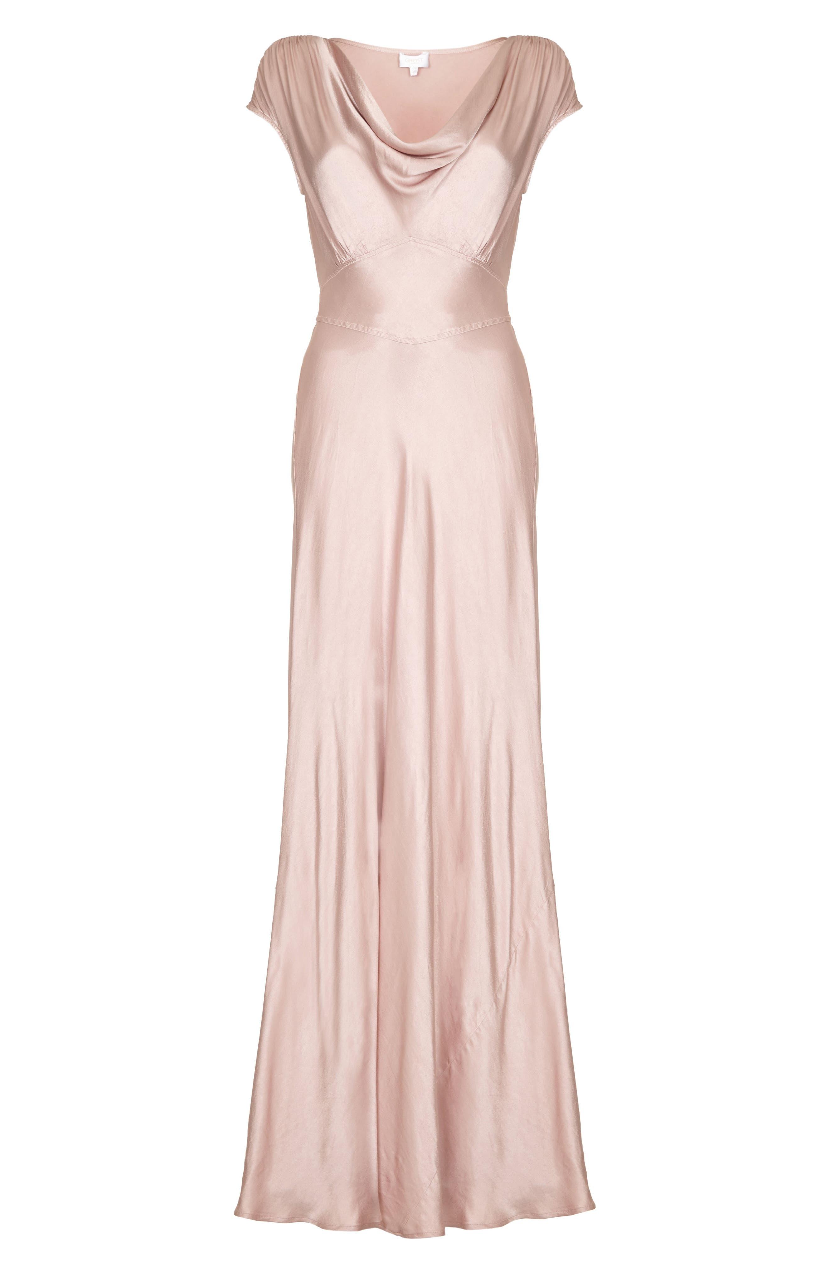 Fern Cowl Neck Gown,                             Alternate thumbnail 4, color,                             Boudoir Pink