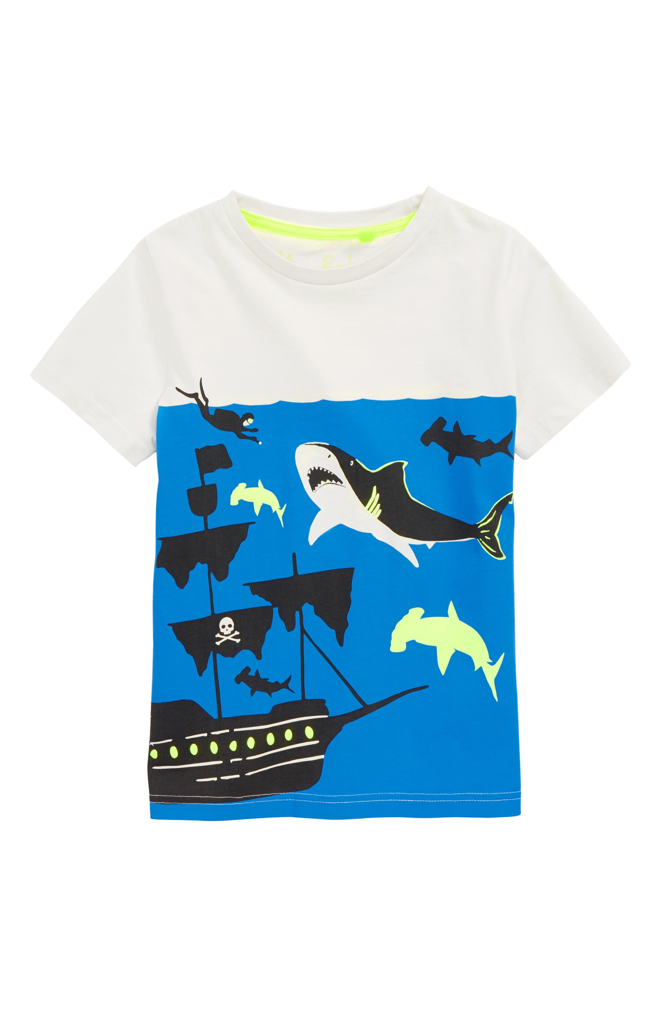 Underwater Screenprint T-Shirt,                         Main,                         color, Ecru Shark Shipwreck