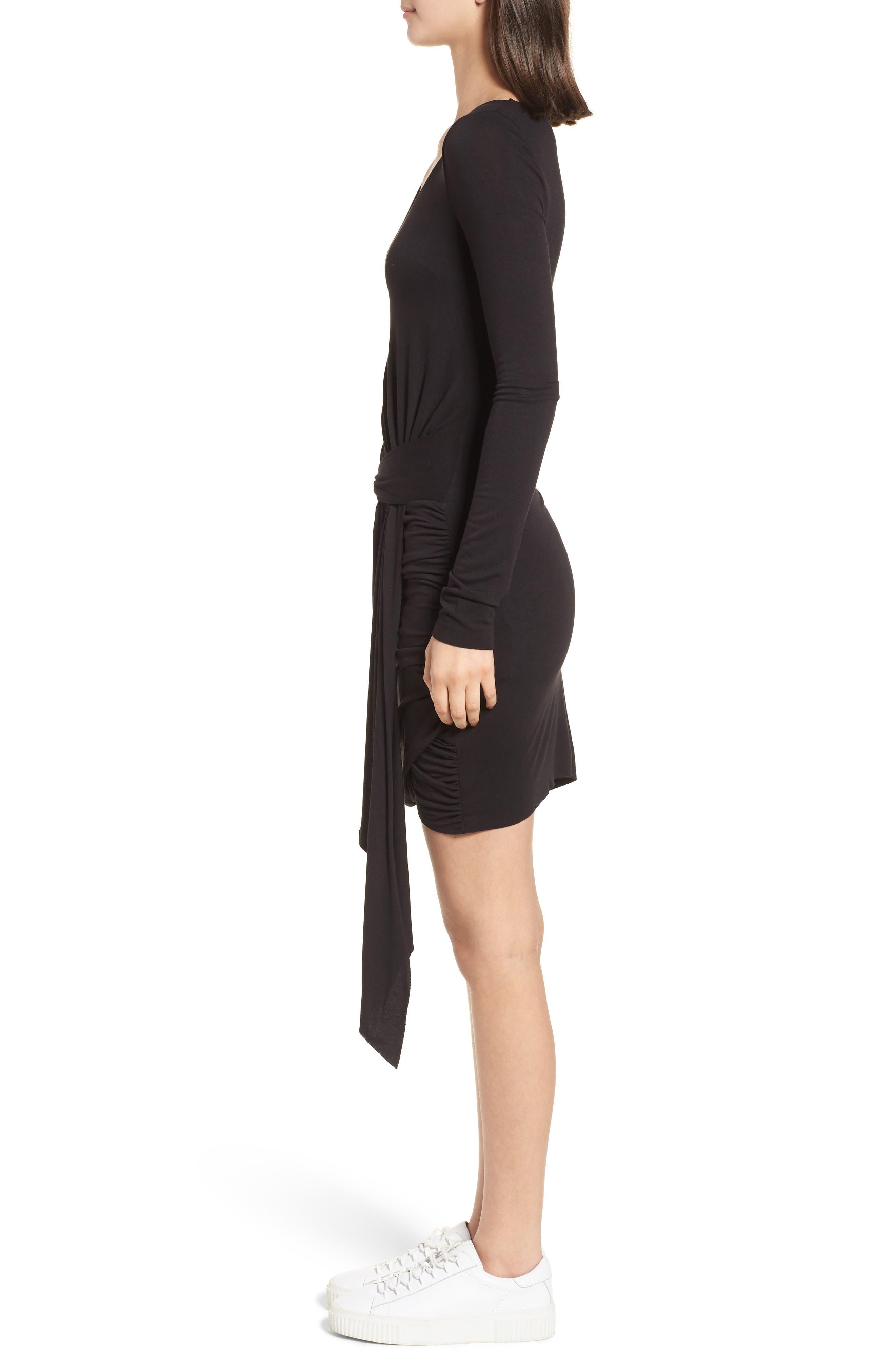 V-Neck Dress,                             Alternate thumbnail 3, color,                             Black Multi