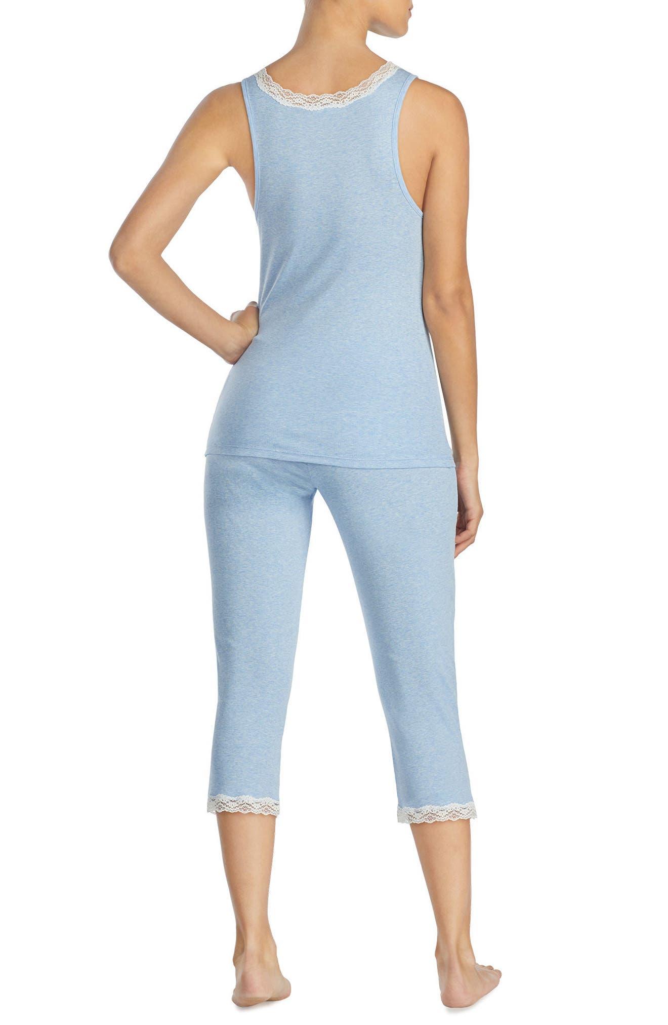 Alternate Image 2  - Lauren Ralph Lauren Lace Trim Capri Pajamas