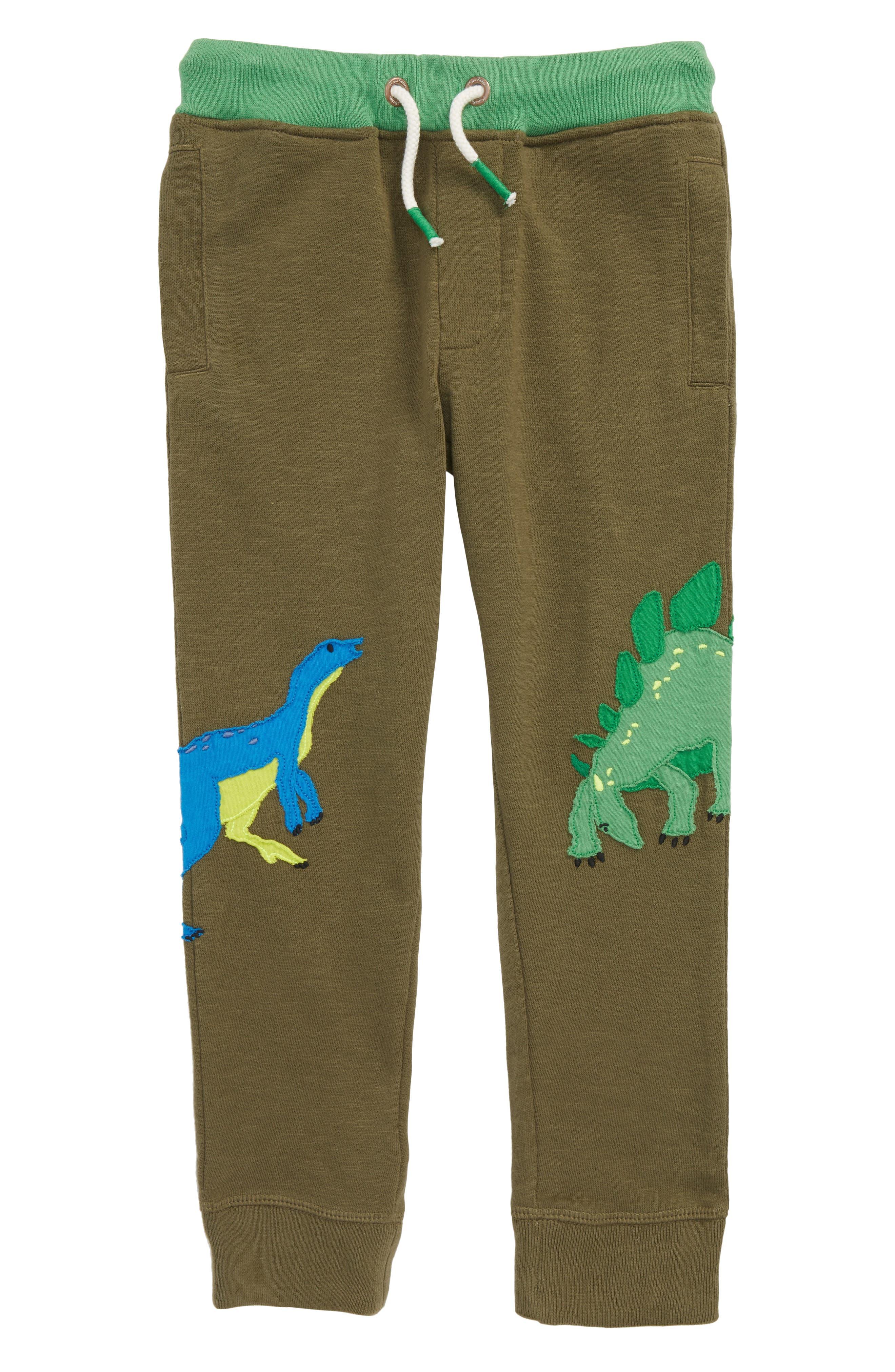 Dinosaur Appliqué Jogger Sweatpants,                             Main thumbnail 1, color,                             Khaki Green Dinos