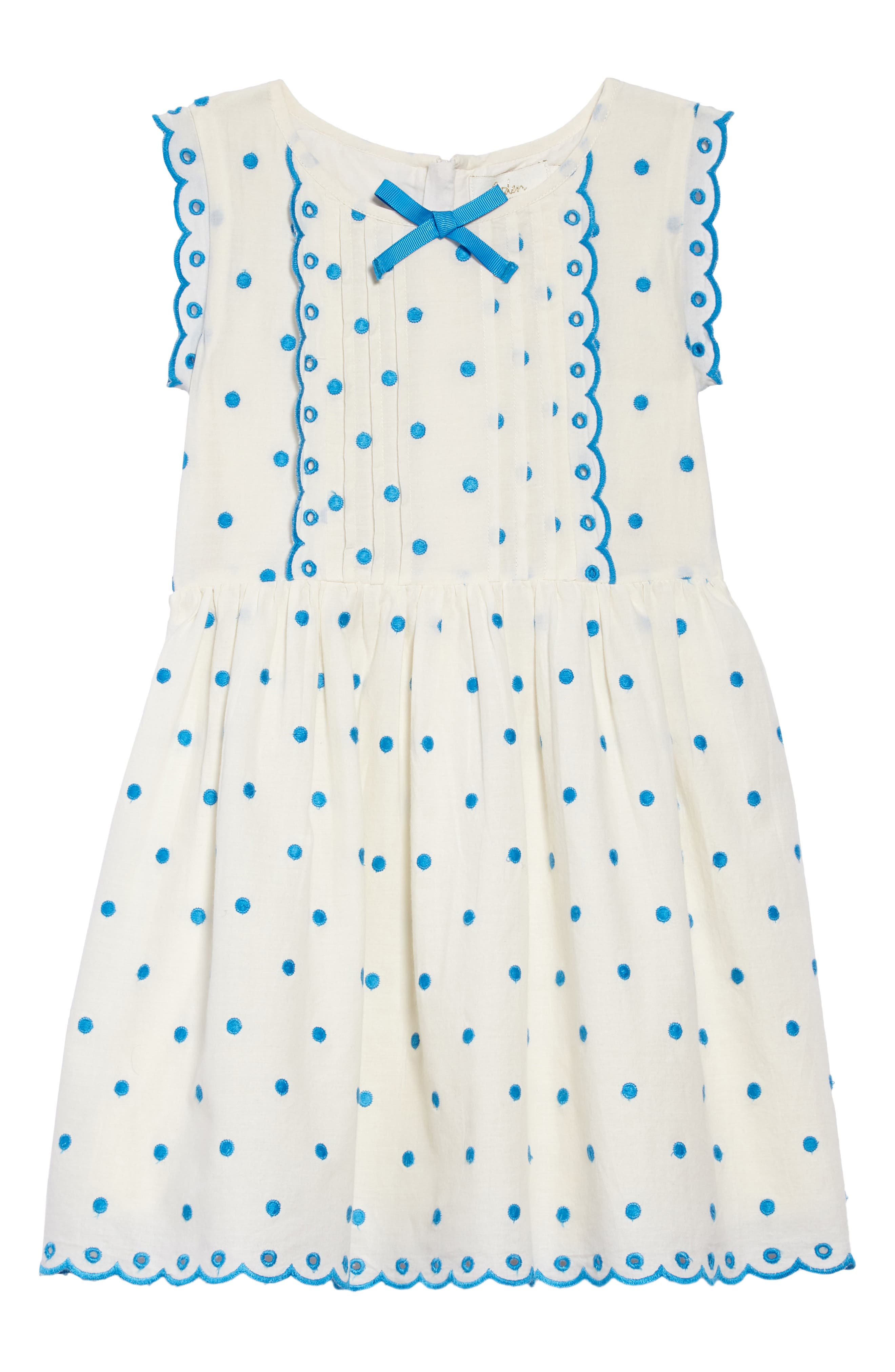 Embroidered Dot Scalloped Dress,                             Main thumbnail 1, color,                             Sptecru/ Fluro Blue Spot