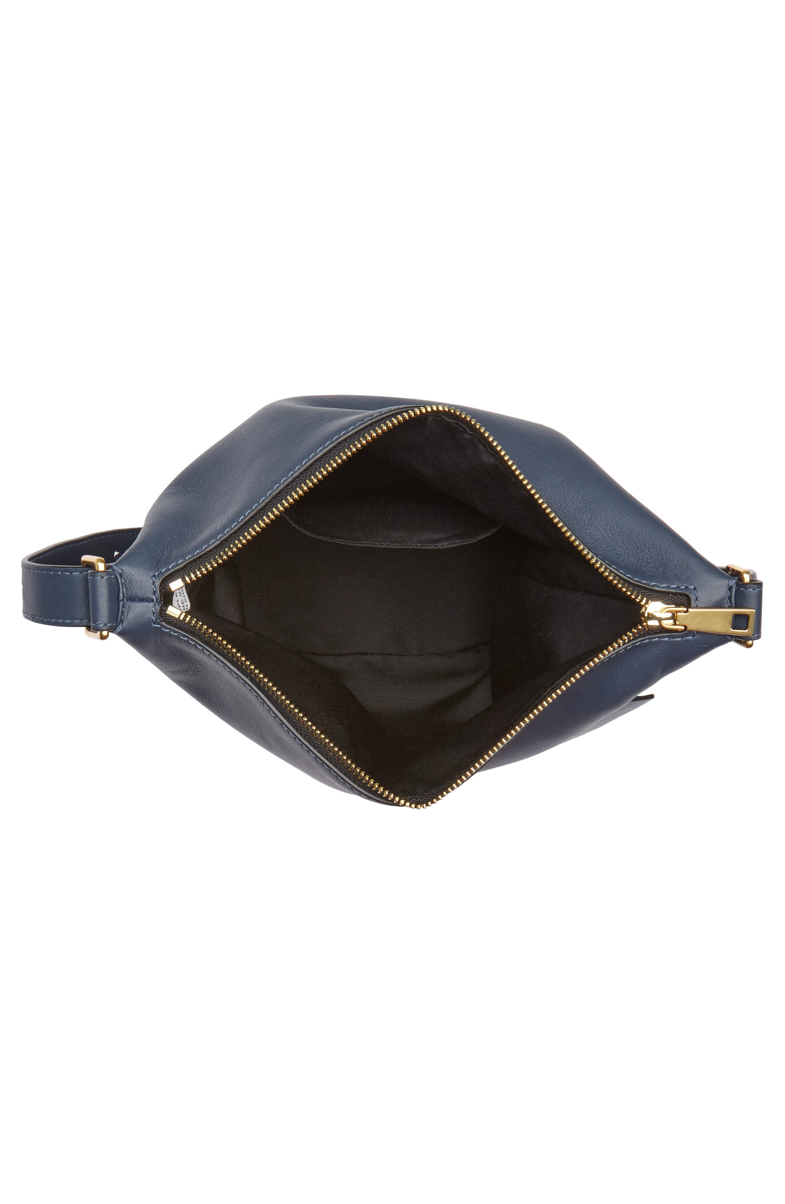 The Mini Sling Convertible Leather Hobo,                             Alternate thumbnail 4, color,                             Blue Sea