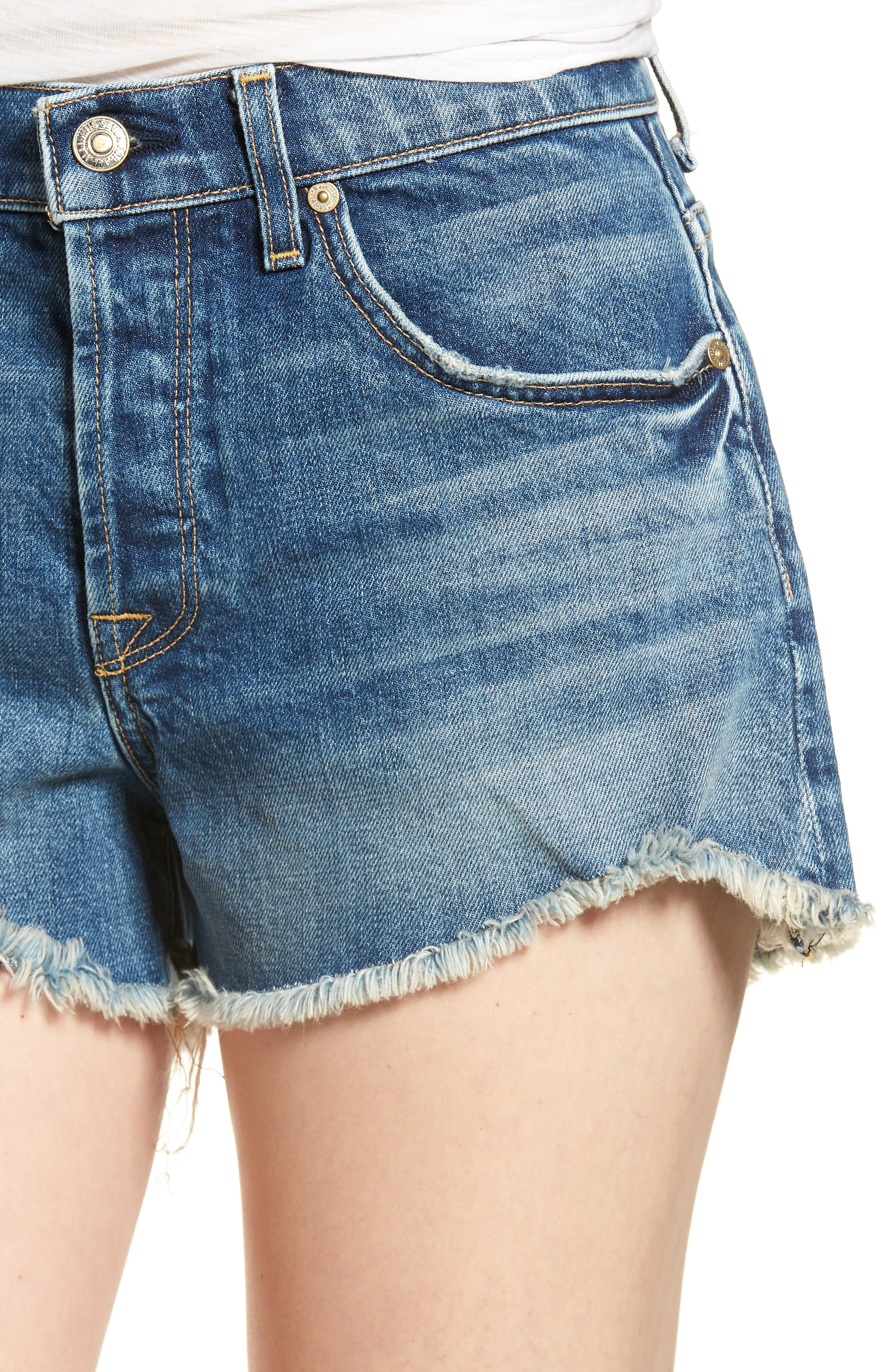 High Waist Cutoff Wave Hem Denim Shorts,                             Alternate thumbnail 4, color,                             Canyon Ranch