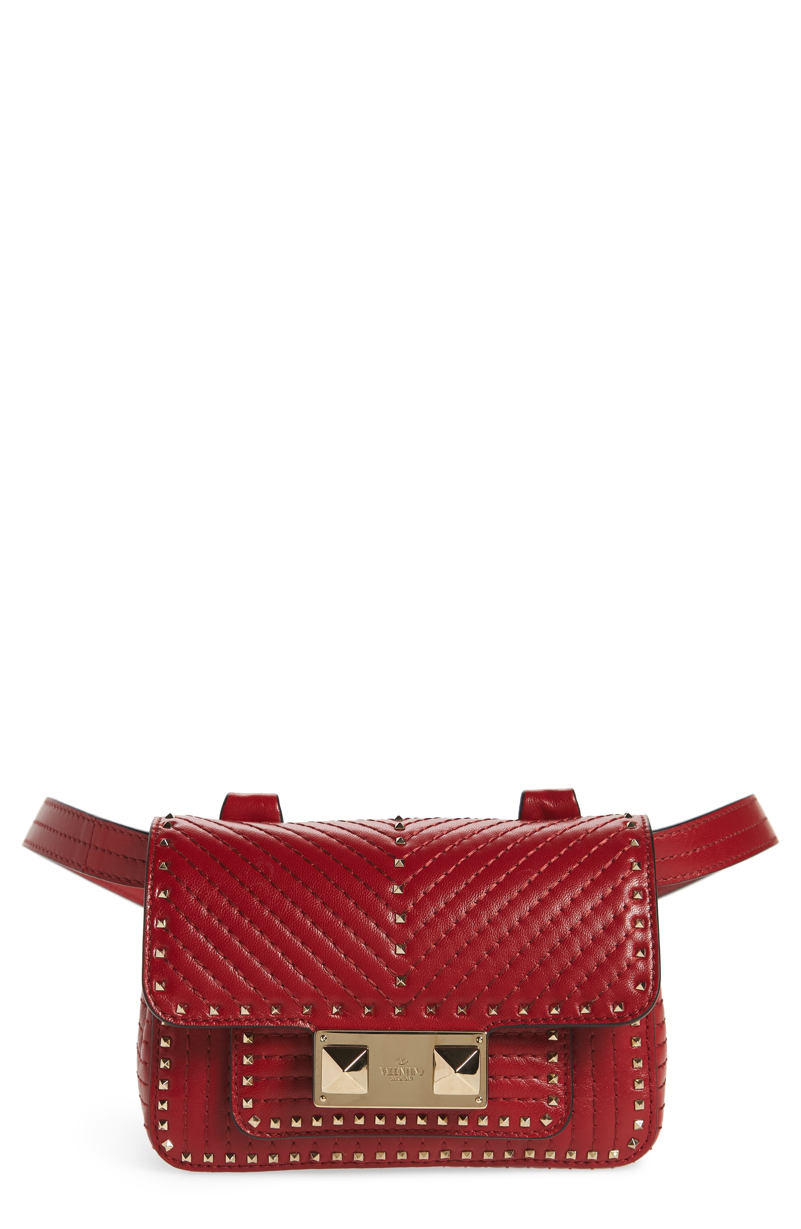 Mini Ziggystud Leather Convertible Crossbody/Belt Bag,                             Main thumbnail 1, color,                             Rosso