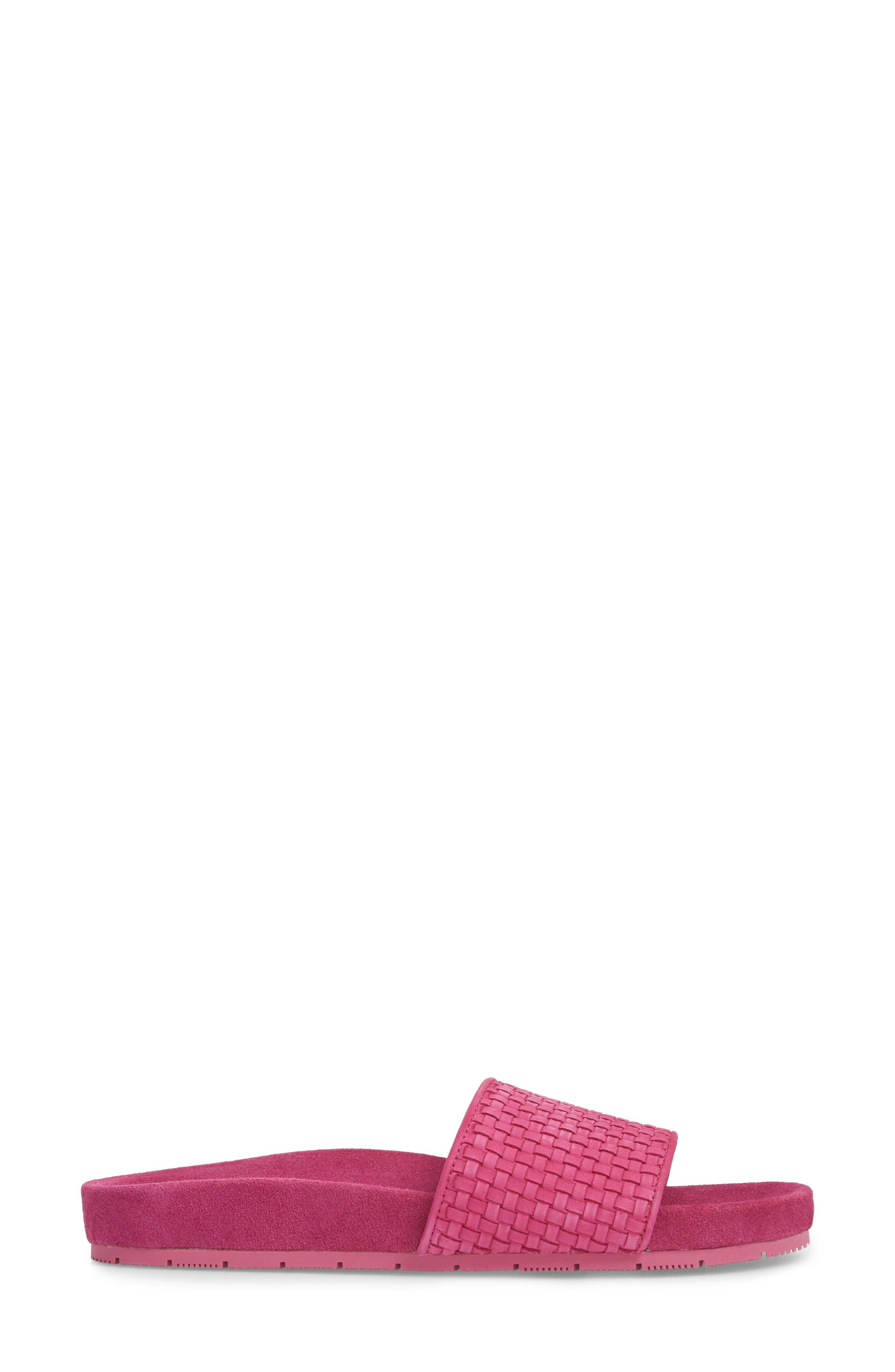 Naomie Slide Sandal,                             Alternate thumbnail 3, color,                             Magenta Suede
