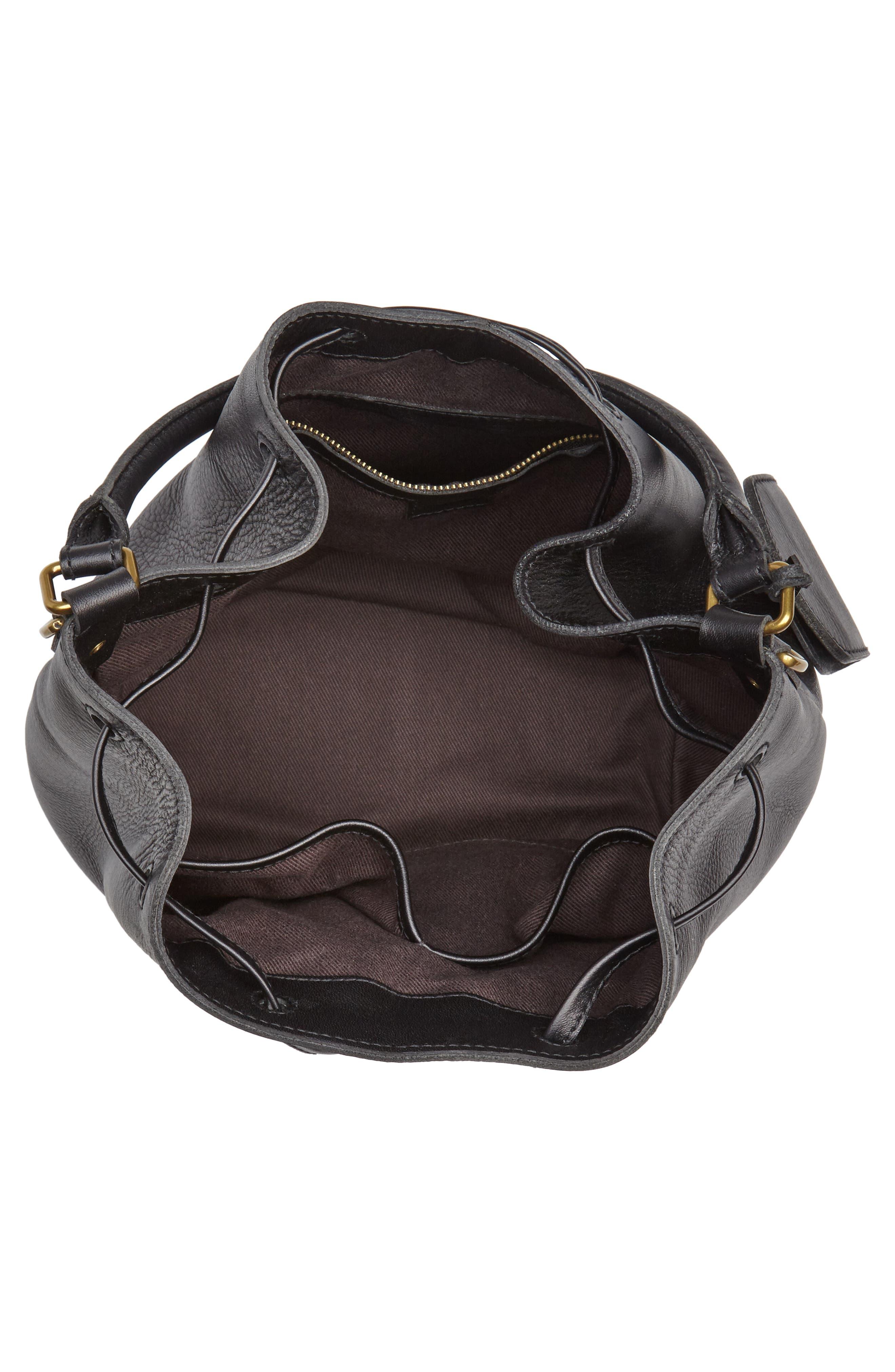 Lafayette Leather Bucket Bag,                             Alternate thumbnail 4, color,                             True Black