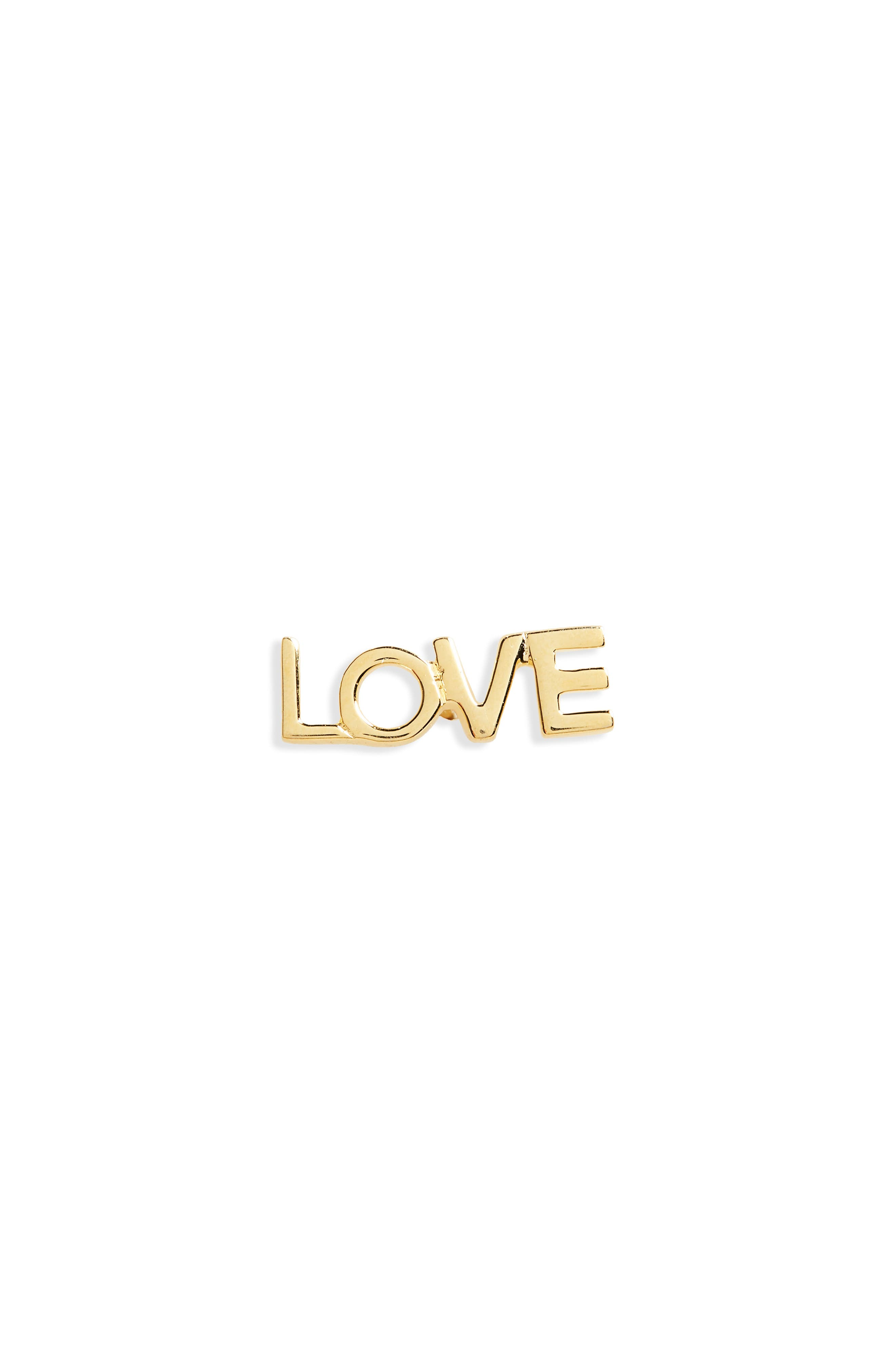 Love Stud Earring,                             Main thumbnail 1, color,                             Gold
