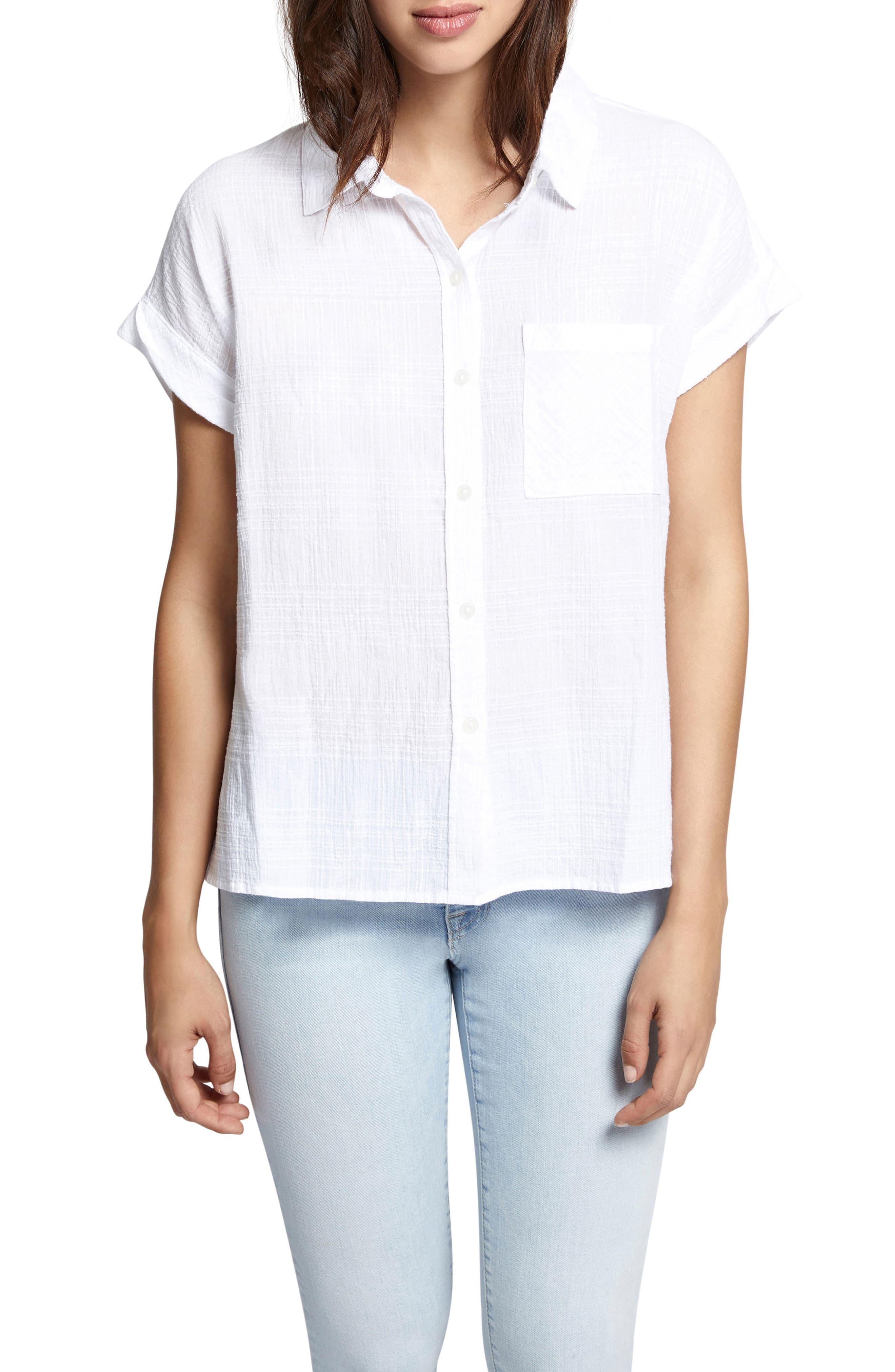 Sanctuary Mod Short Sleeve Boyfriend Shirt (Regular & Petite)