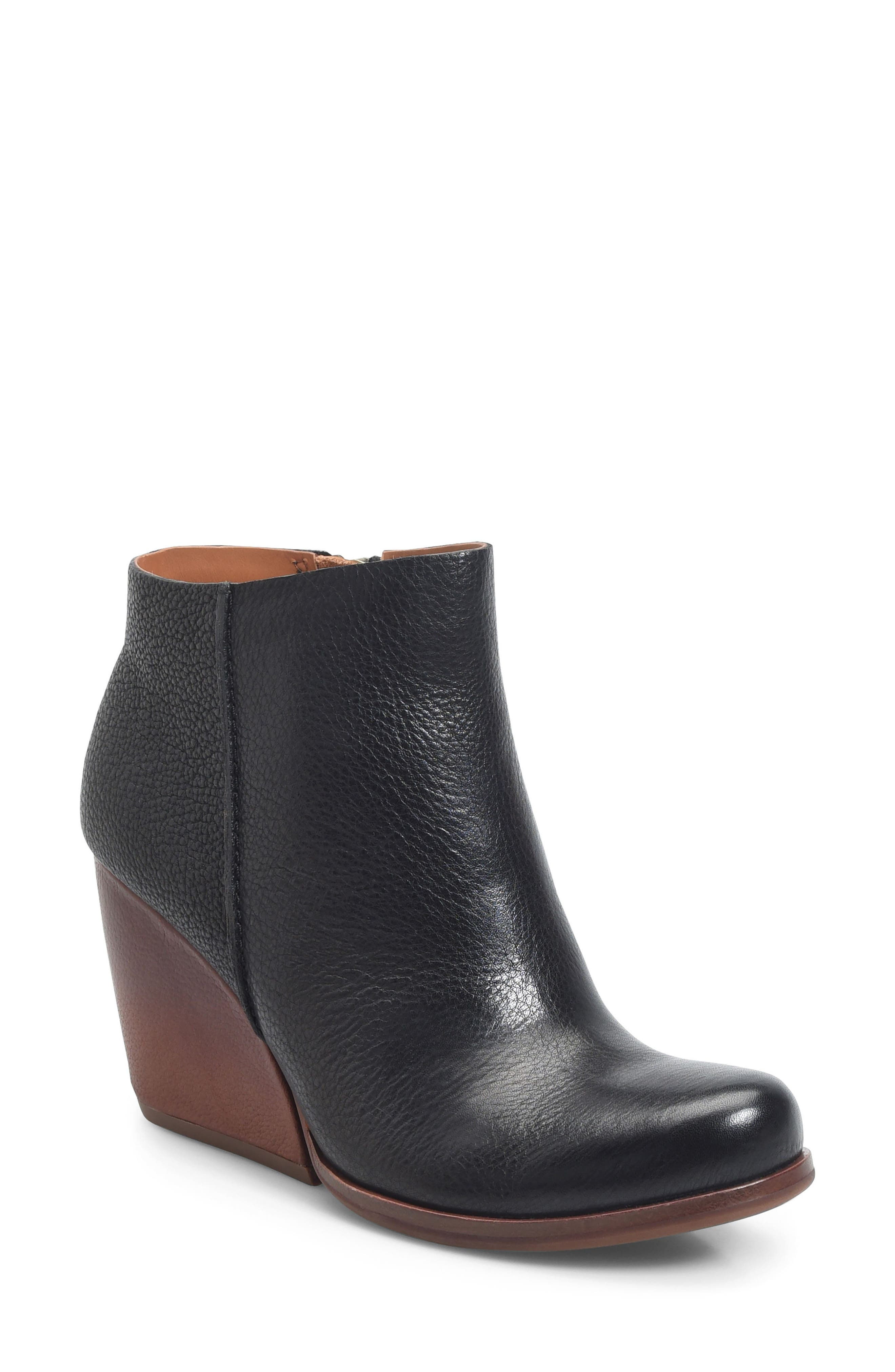 Natalya Wedge Bootie,                         Main,                         color, Black Leather
