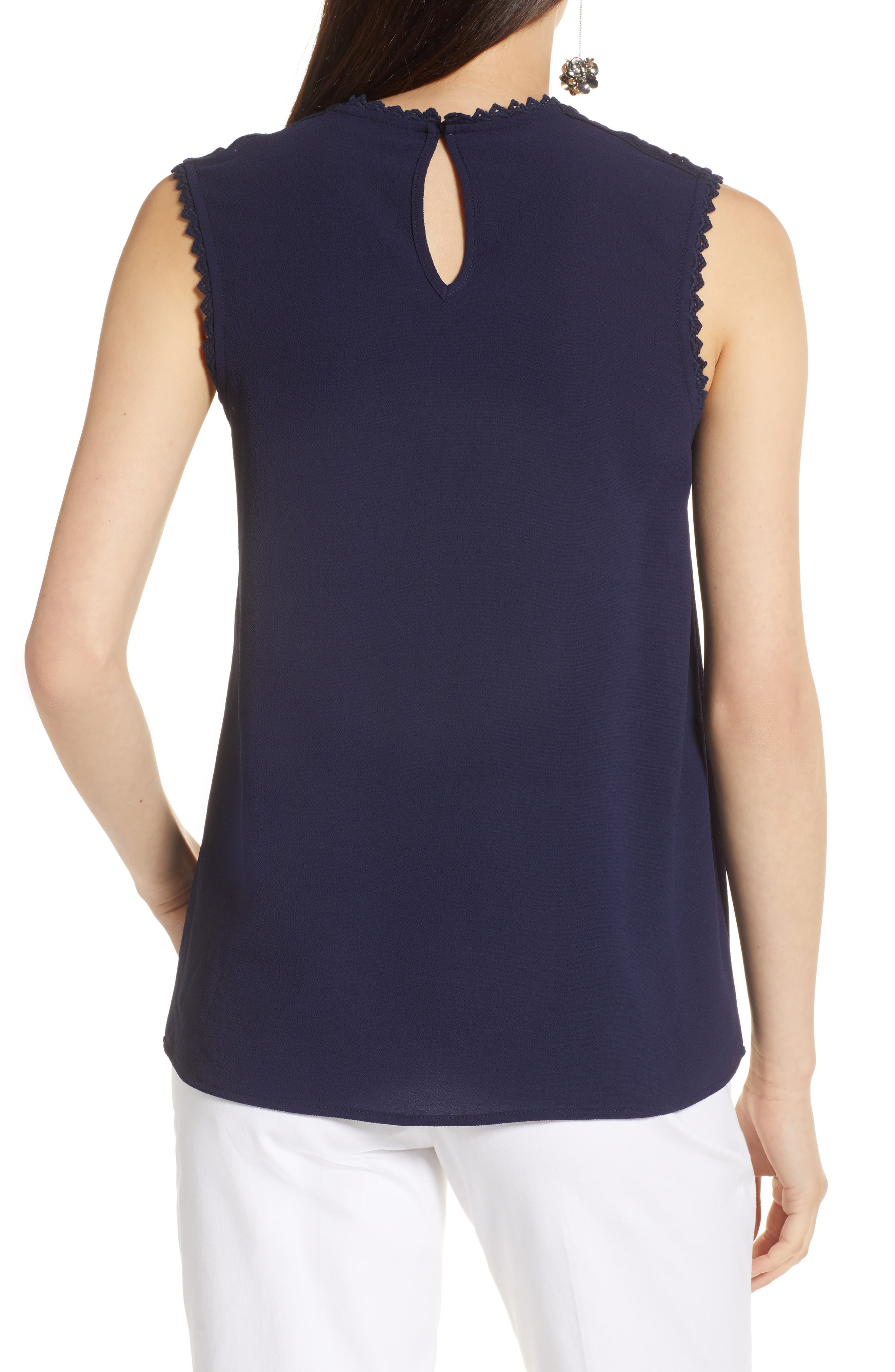 Lace Detail Stretch Crepe Tank Top,                             Alternate thumbnail 2, color,                             Navy Peacoat