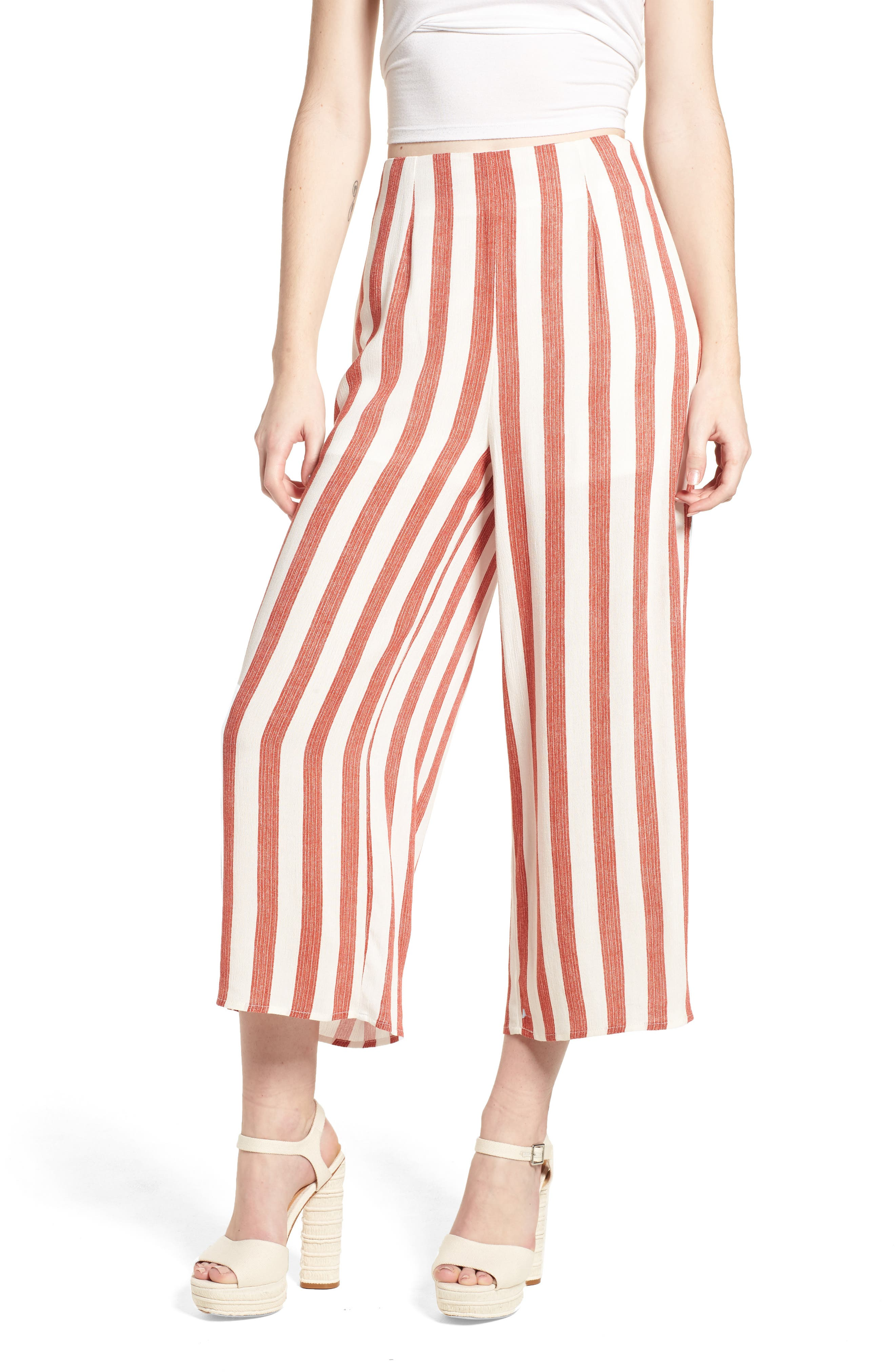 Stripe Culottes,                             Main thumbnail 1, color,                             Red/ Ivory