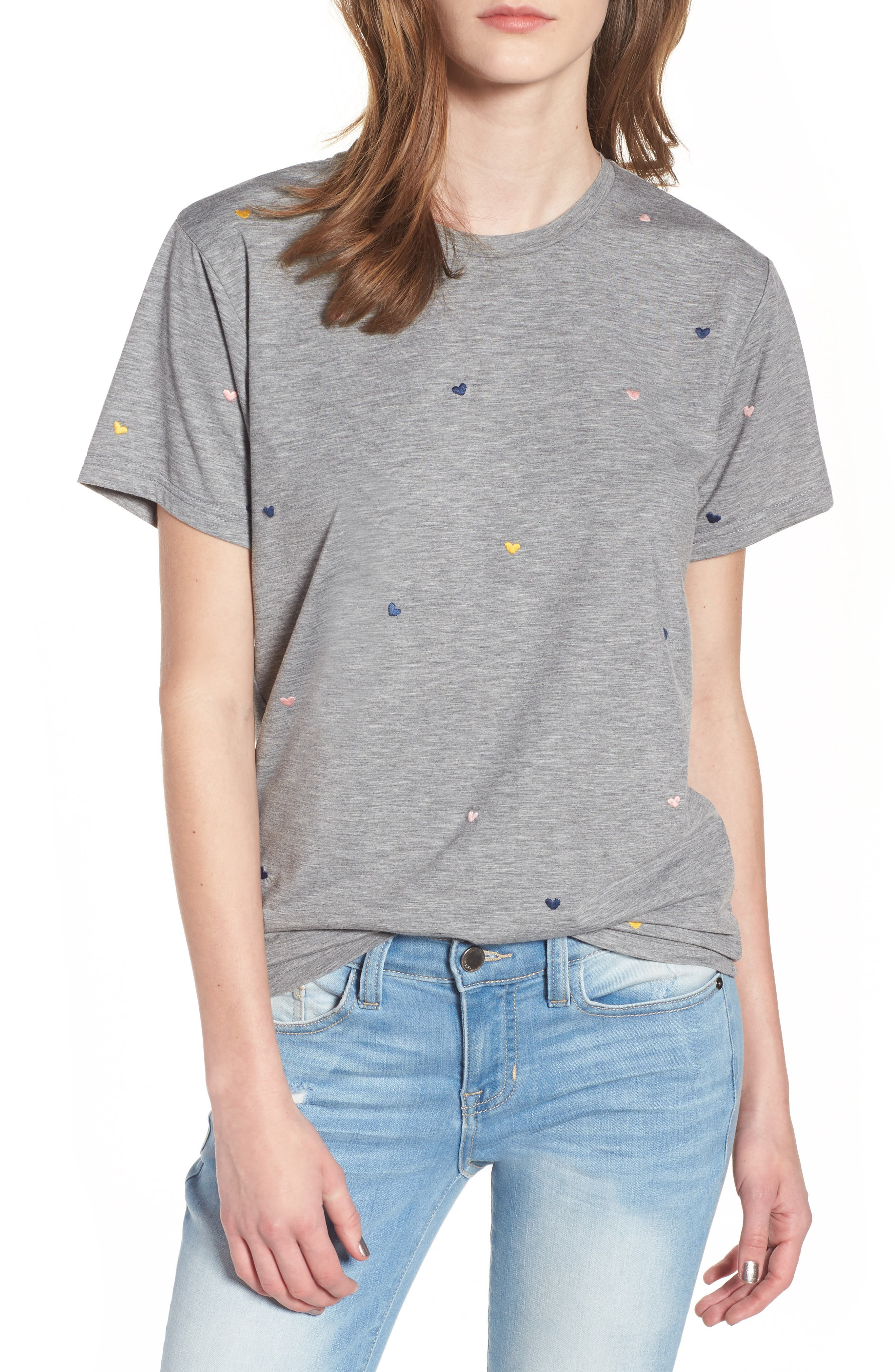 Embroidered Heart Tee,                         Main,                         color, Grey