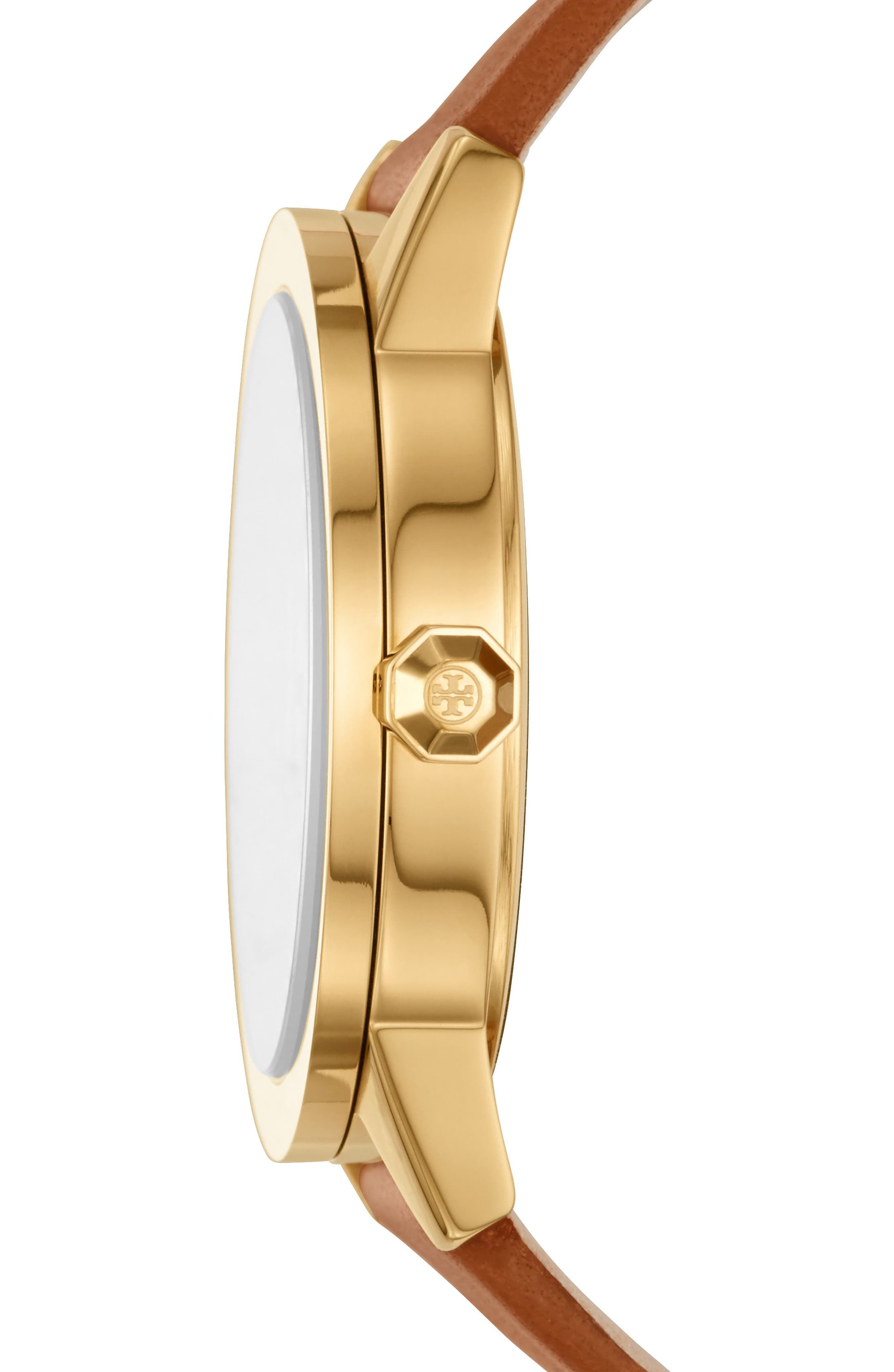 Gigi Leather Strap Watch, 36mm,                             Alternate thumbnail 2, color,                             Luggage/ Cream/ Gold