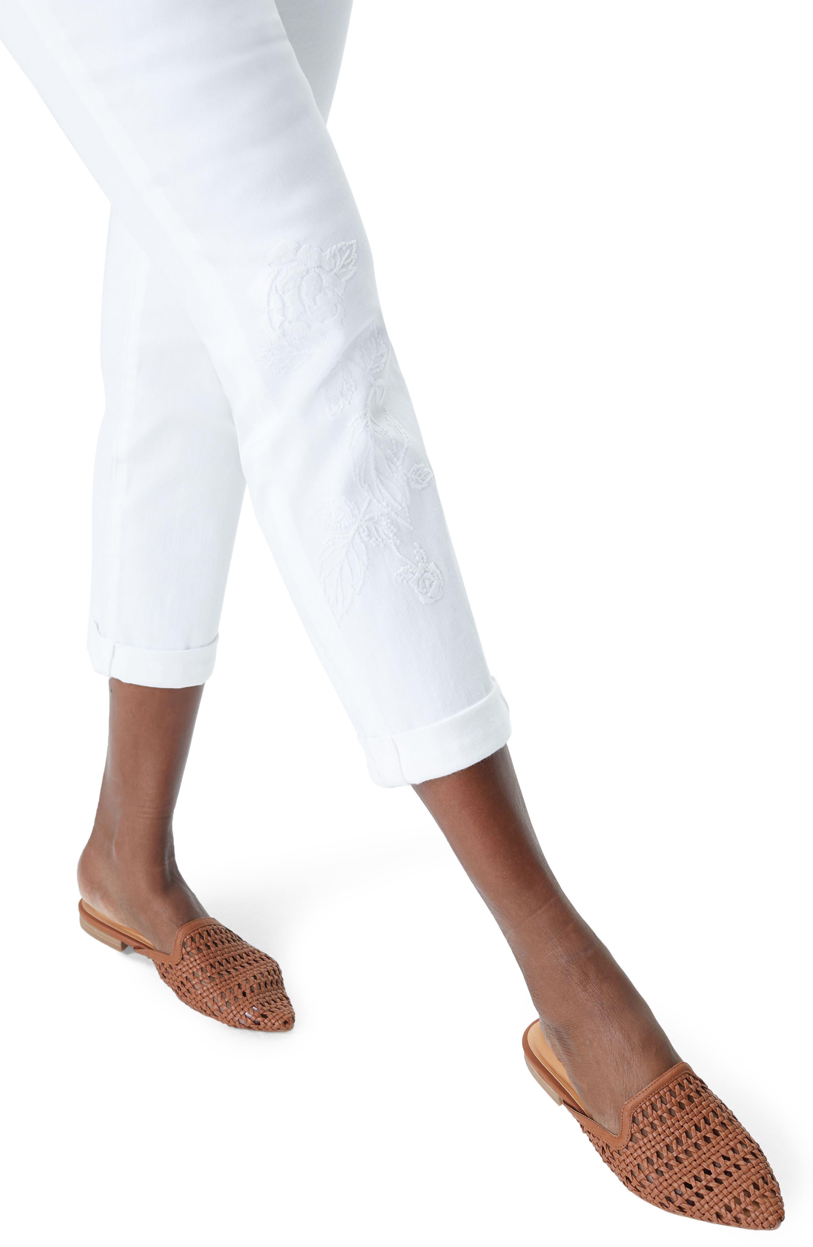 Puff Embroidery White Boyfriend Jeans,                             Alternate thumbnail 4, color,                             Optic White