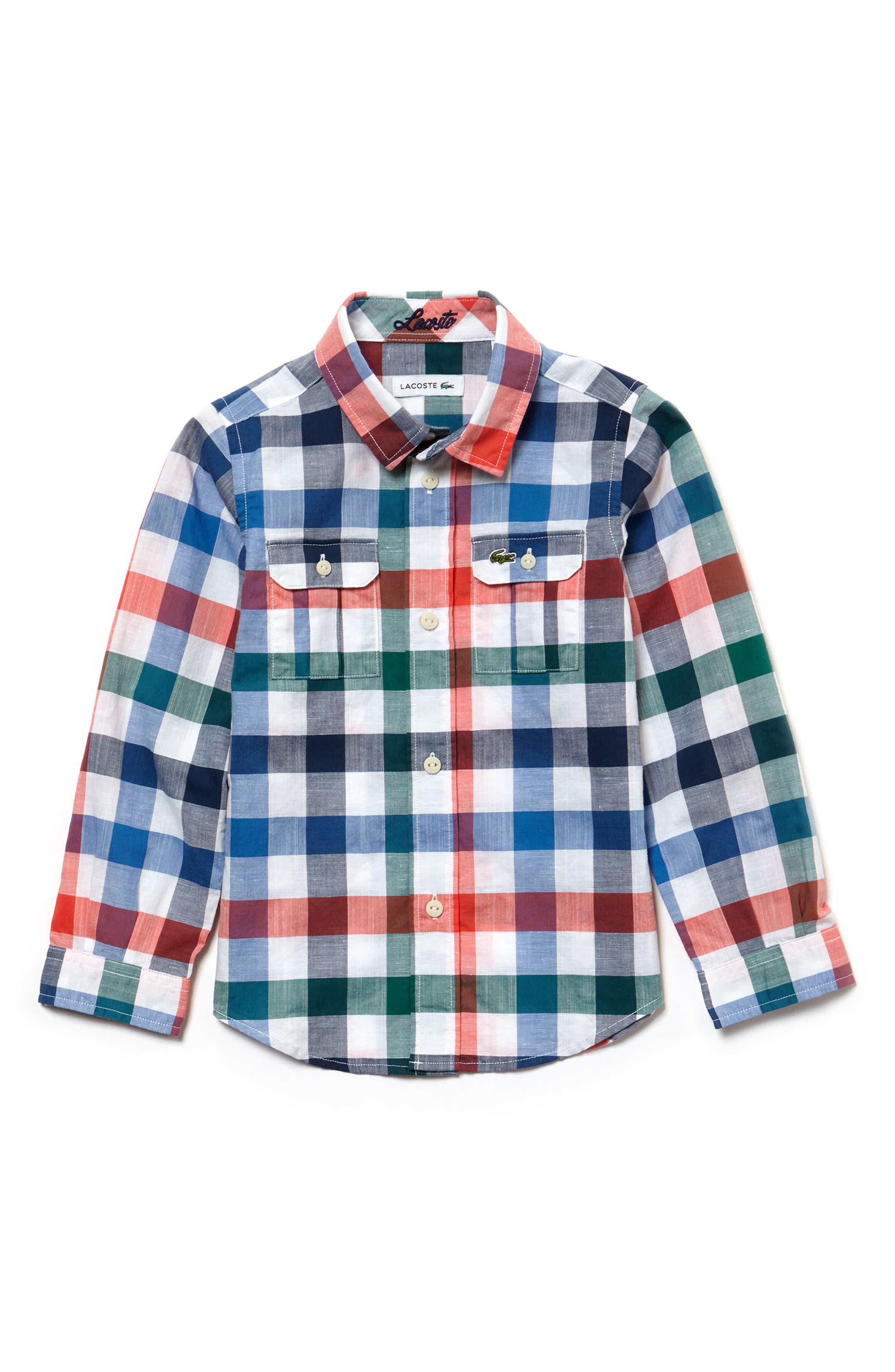 Check Woven Shirt,                             Main thumbnail 1, color,                             Print