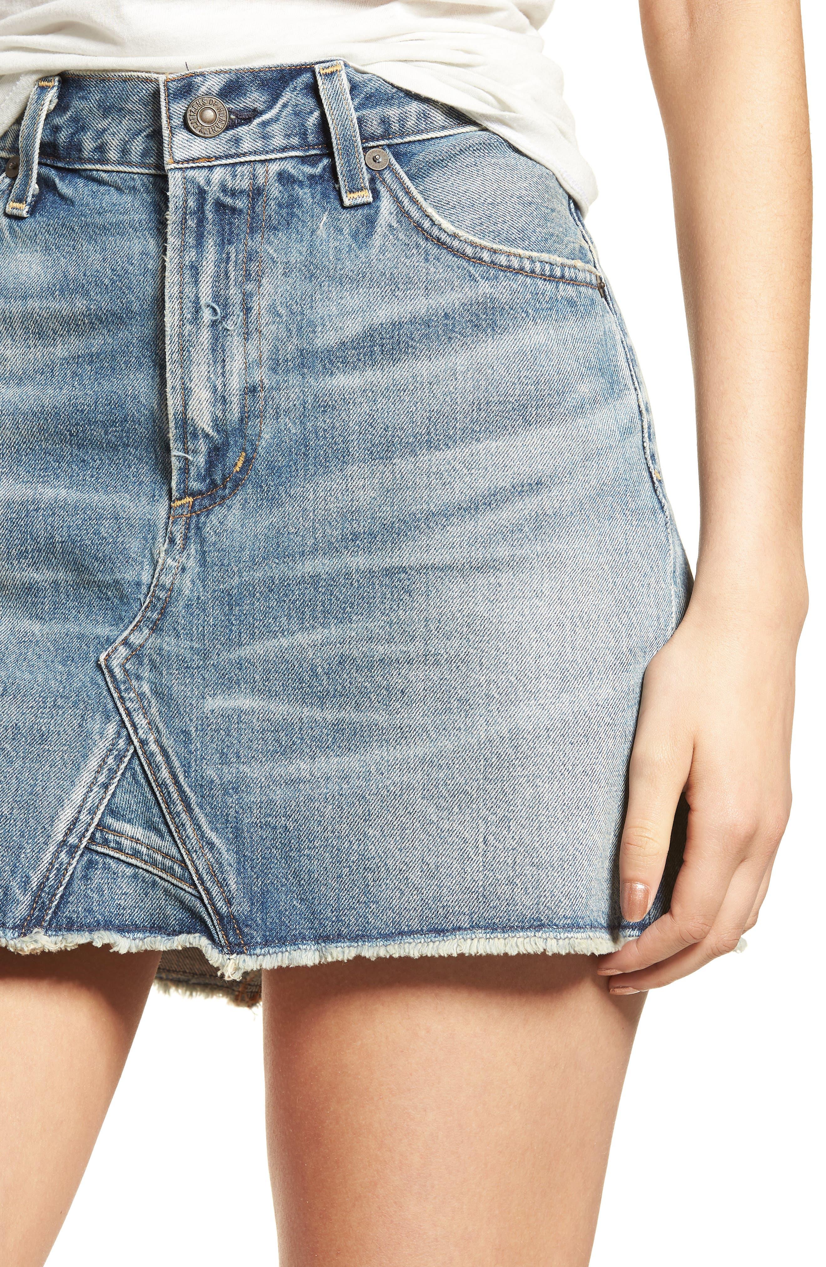 Cutoff Denim Miniskirt,                             Alternate thumbnail 4, color,                             Freebird