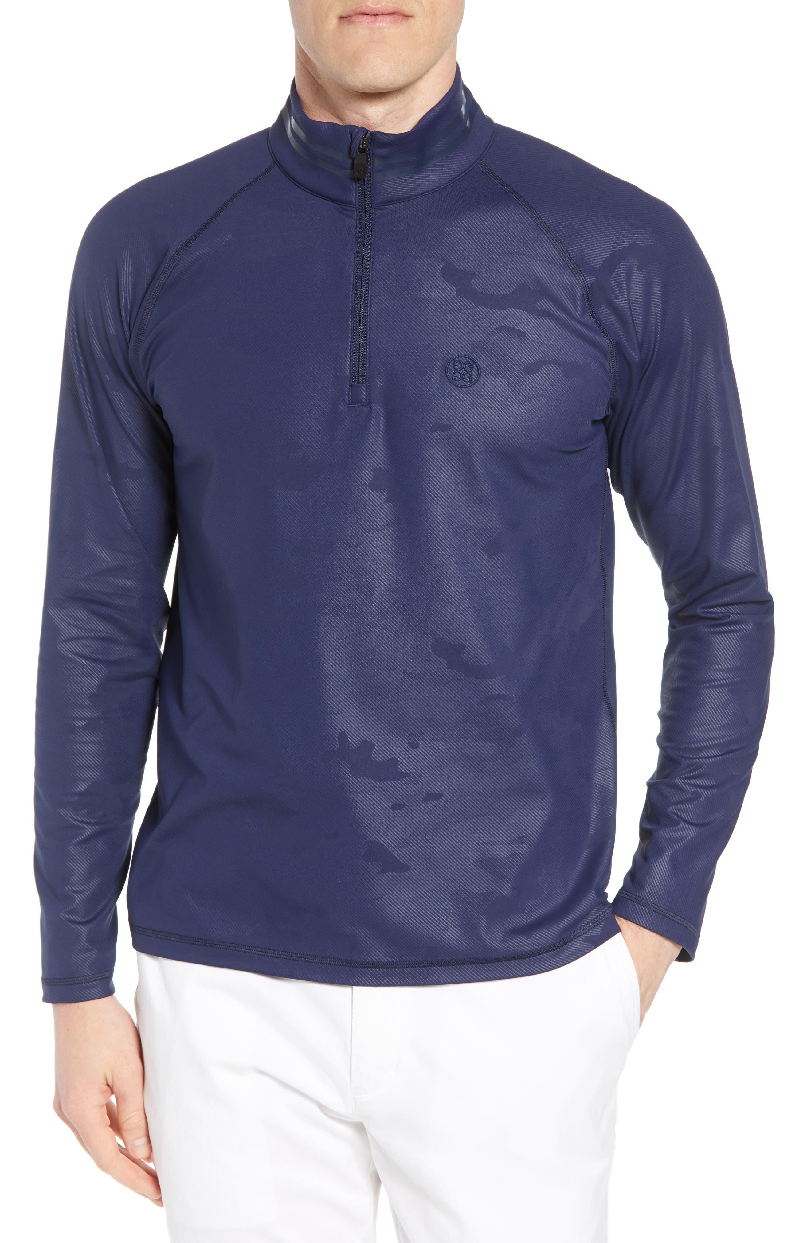 Camo Regular Fit Quarter-Zip Pullover,                             Main thumbnail 1, color,                             Twilight