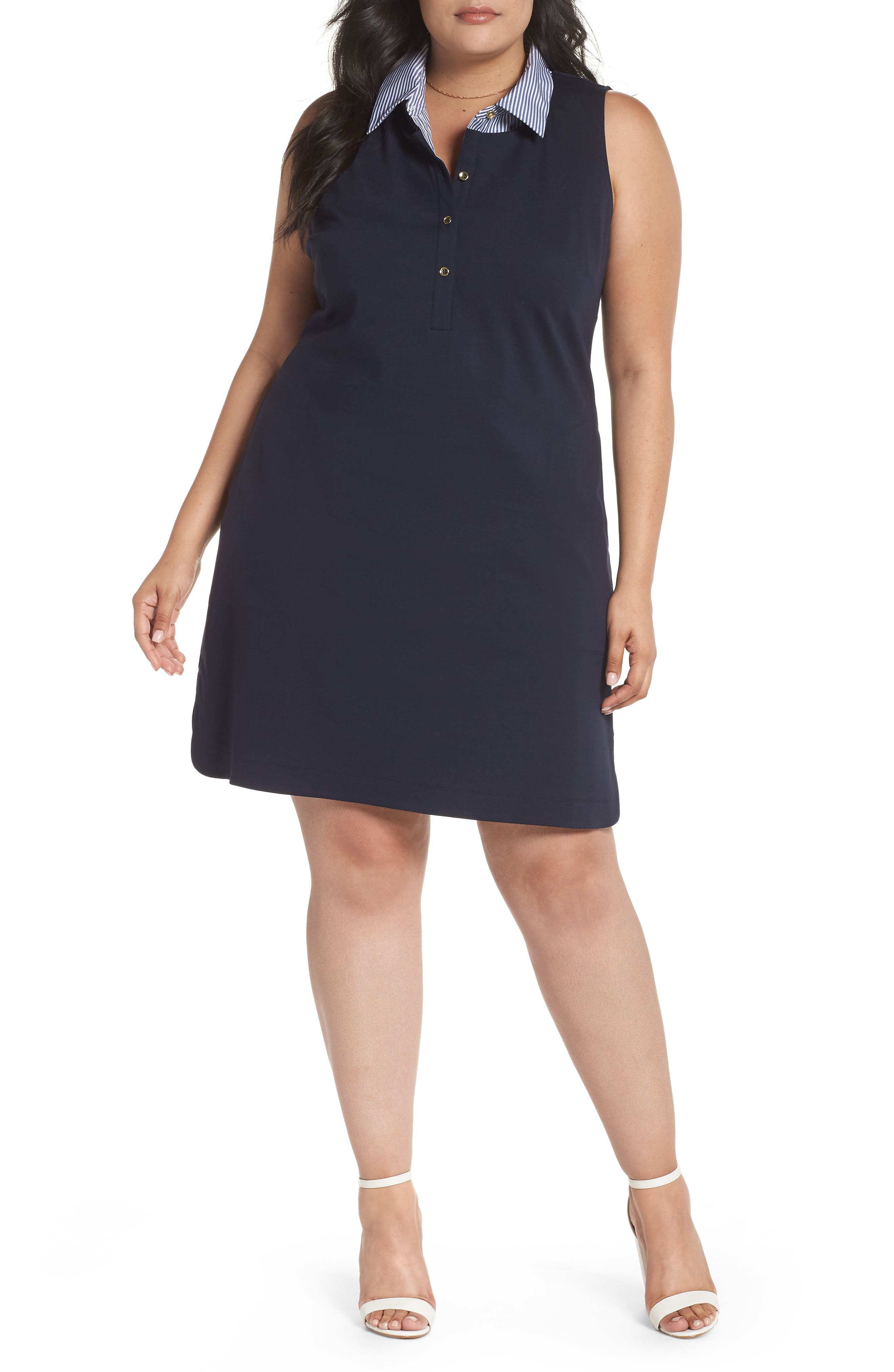 Poplin Collar Knit Dress,                             Main thumbnail 1, color,                             Navy