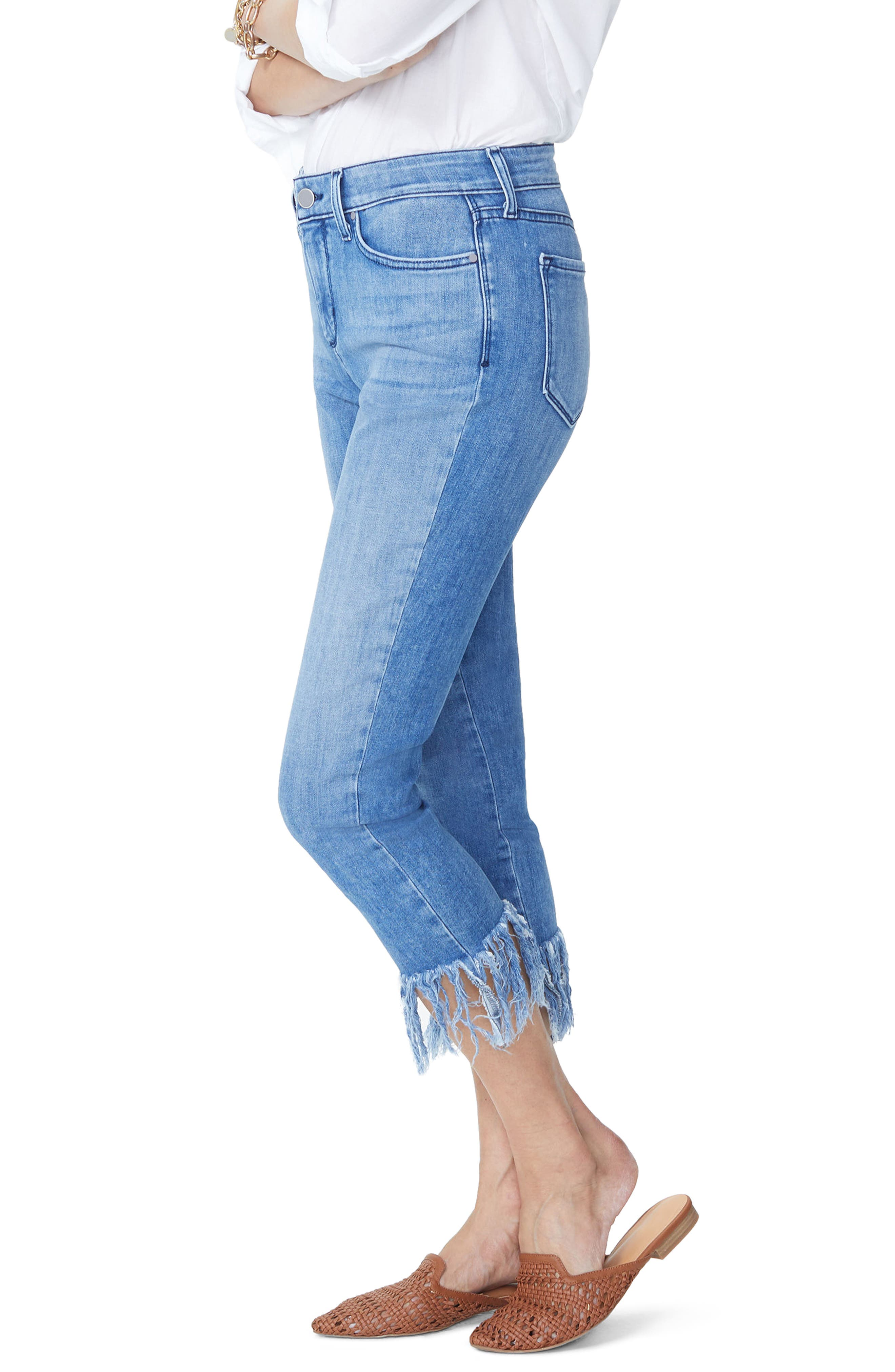 Ami Long Fray Skinny Stretch Ankle Jeans,                             Alternate thumbnail 4, color,                             Capitola