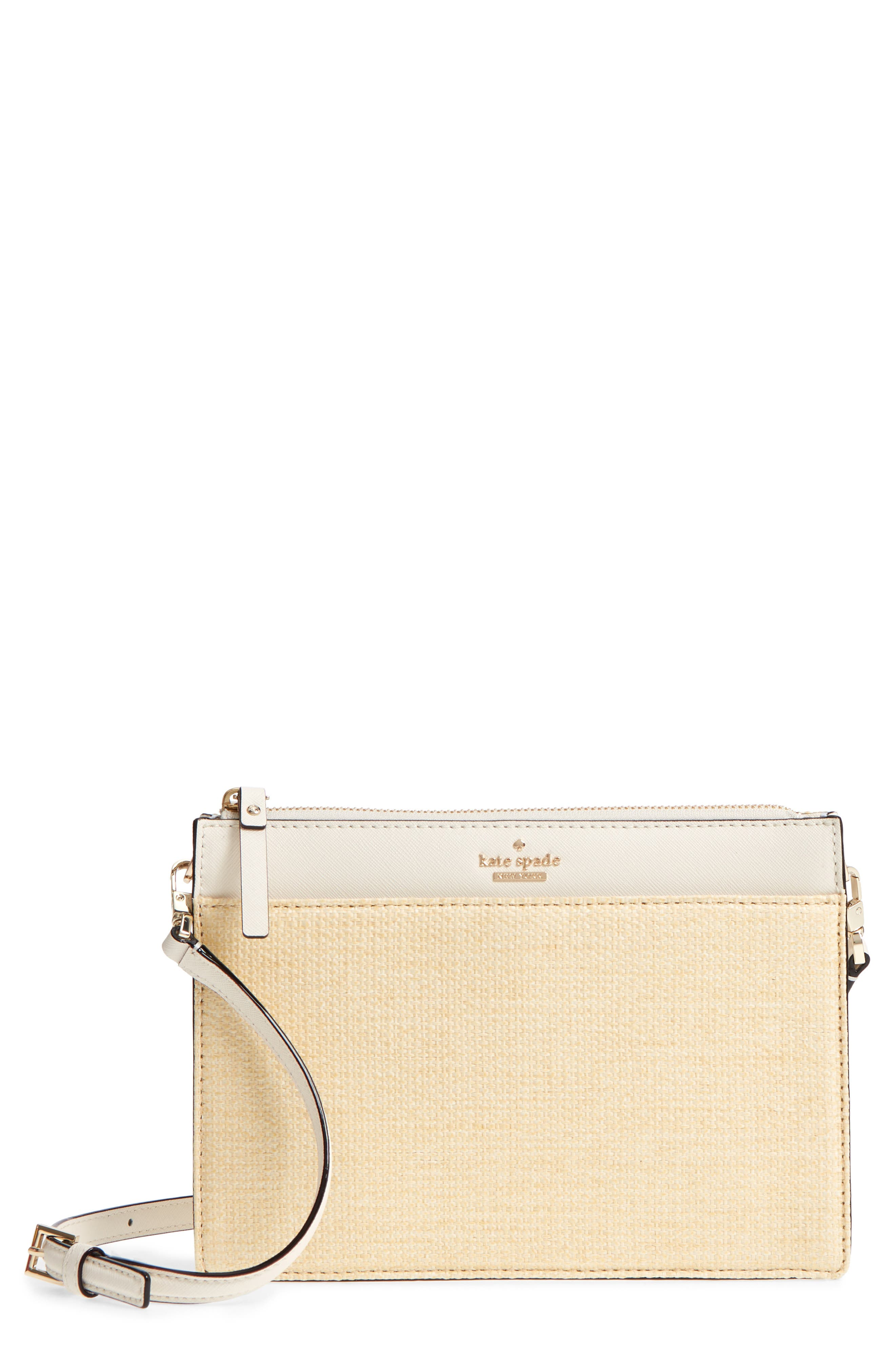kate spade new york cameron street - clarise straw & leather shoulder bag