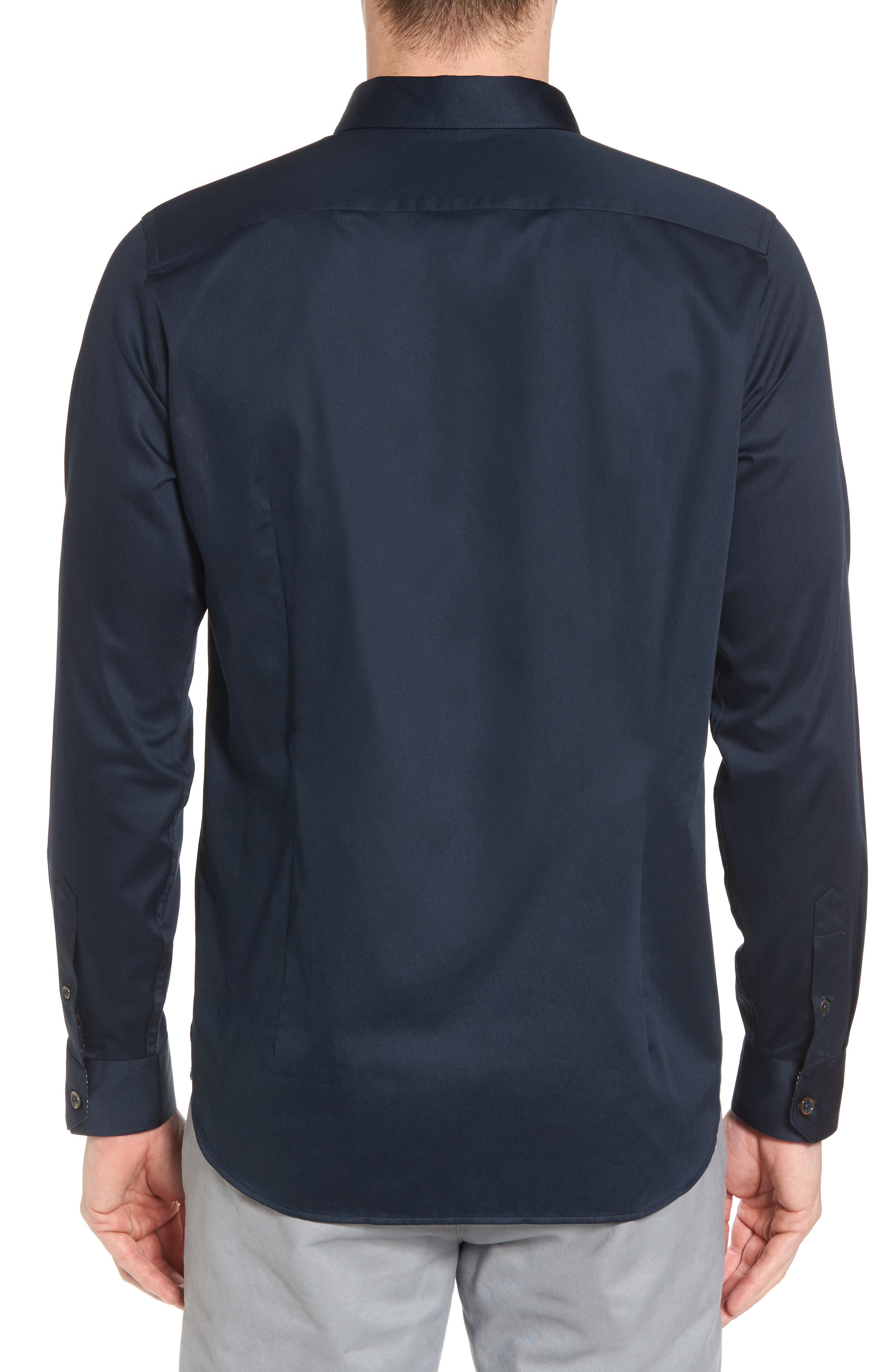 Byllytt Extra Slim Fit Stretch Solid Sport Shirt,                             Alternate thumbnail 3, color,                             Navy