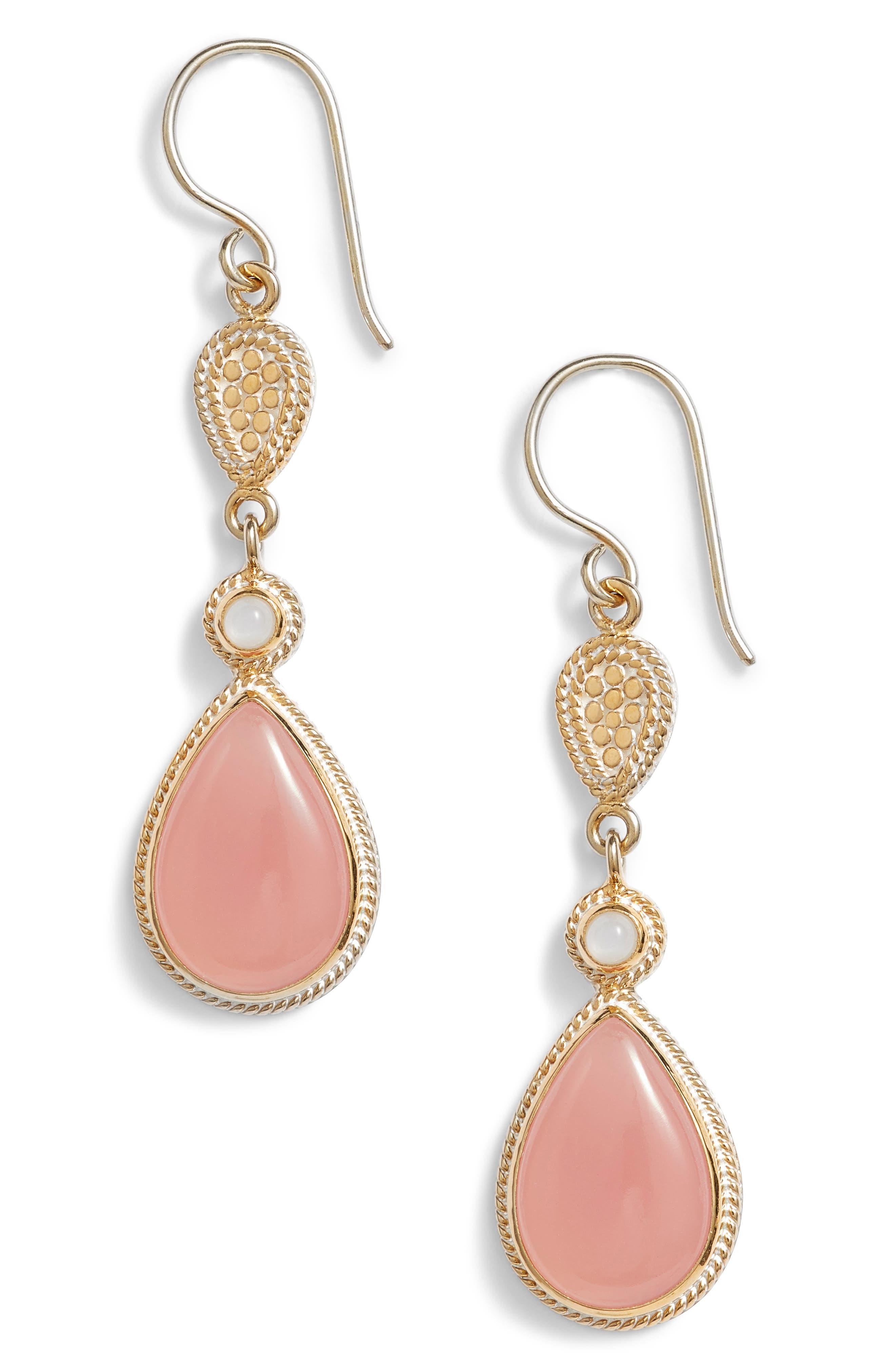 Guava Quartz & Moonstone Drop Earrings,                             Main thumbnail 1, color,                             Gold/ Guava/ Moonstone