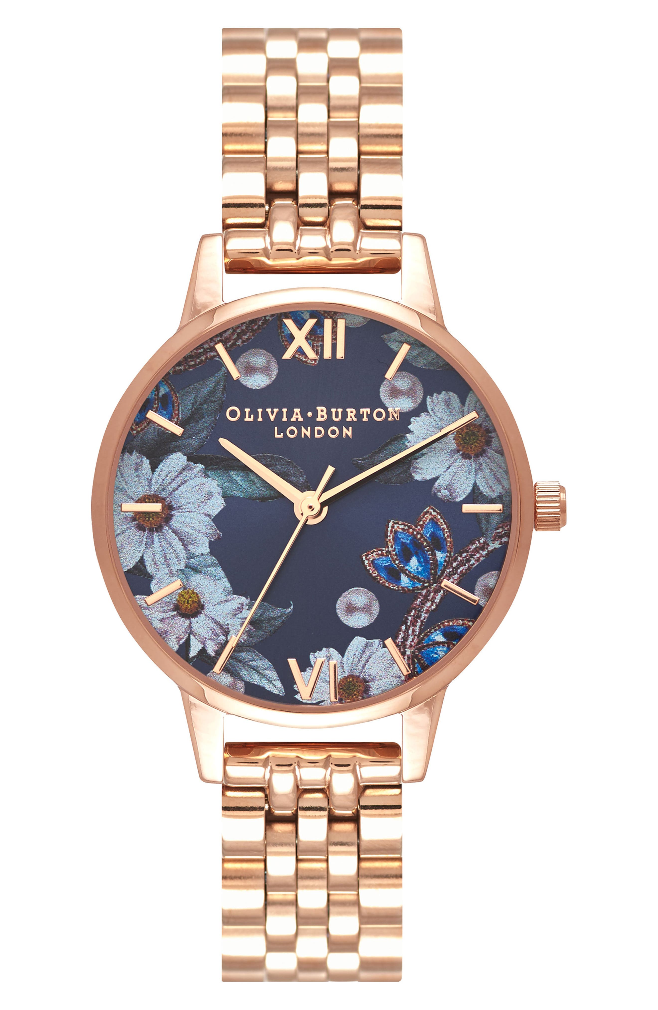Bejewelled Floral Bracelet Watch, 30mm,                             Main thumbnail 1, color,                             Rose Gold