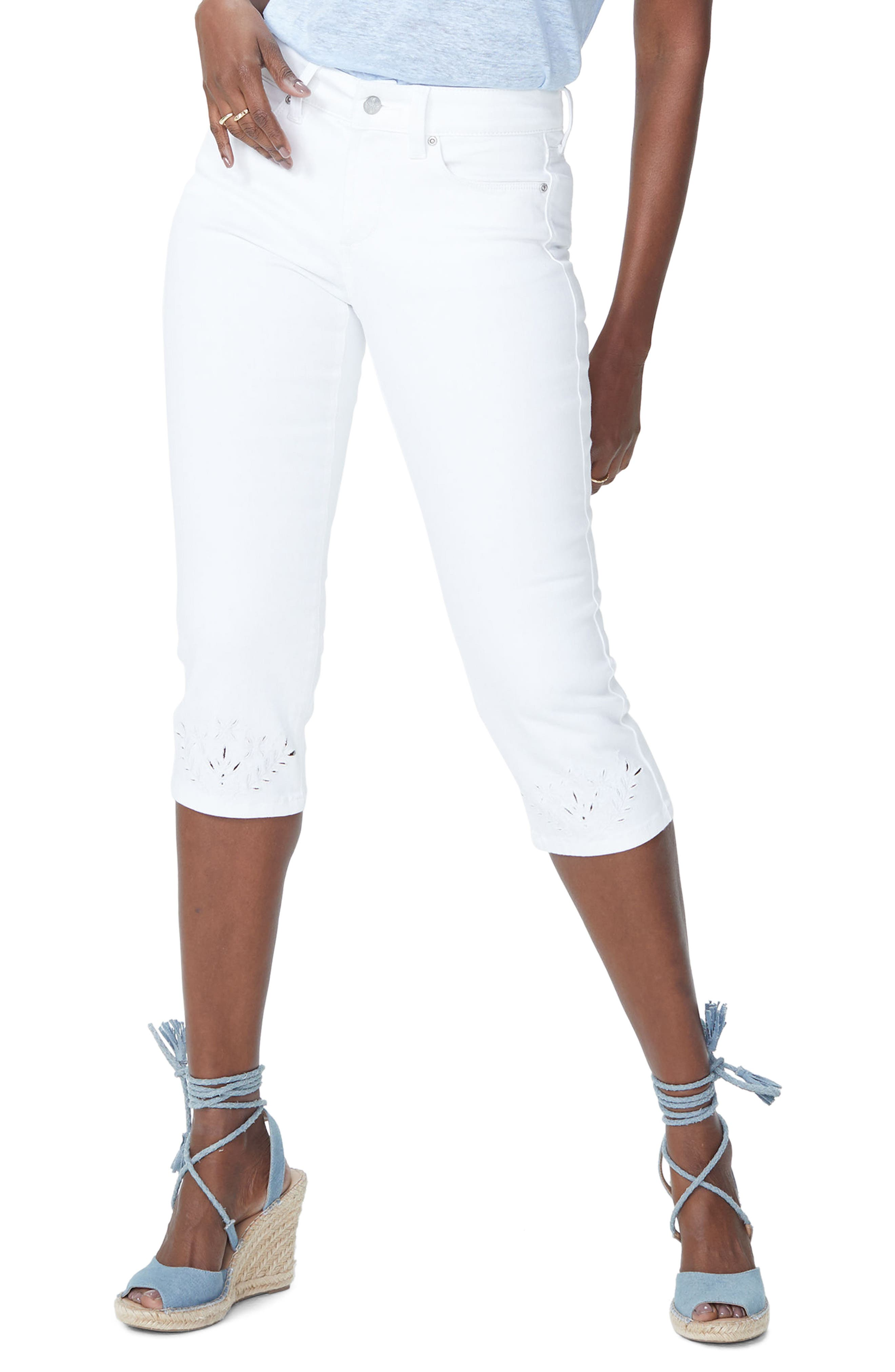 Marilyn Eyelet Hem Stretch Crop Jeans,                             Main thumbnail 1, color,                             Optic White