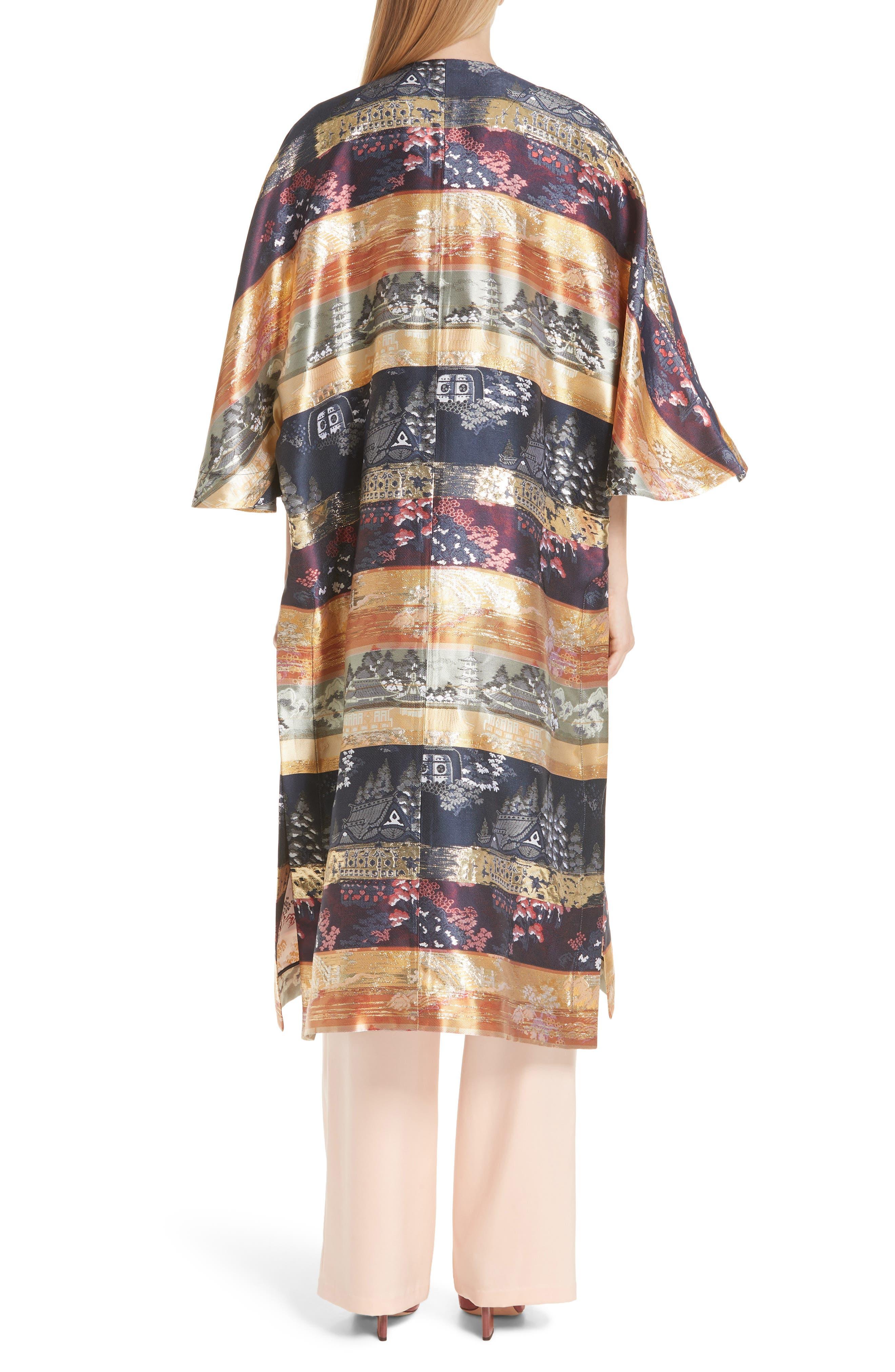 Reversible Silk Lamé Jacquard Coat,                             Alternate thumbnail 3, color,                             Navy/ Ivory