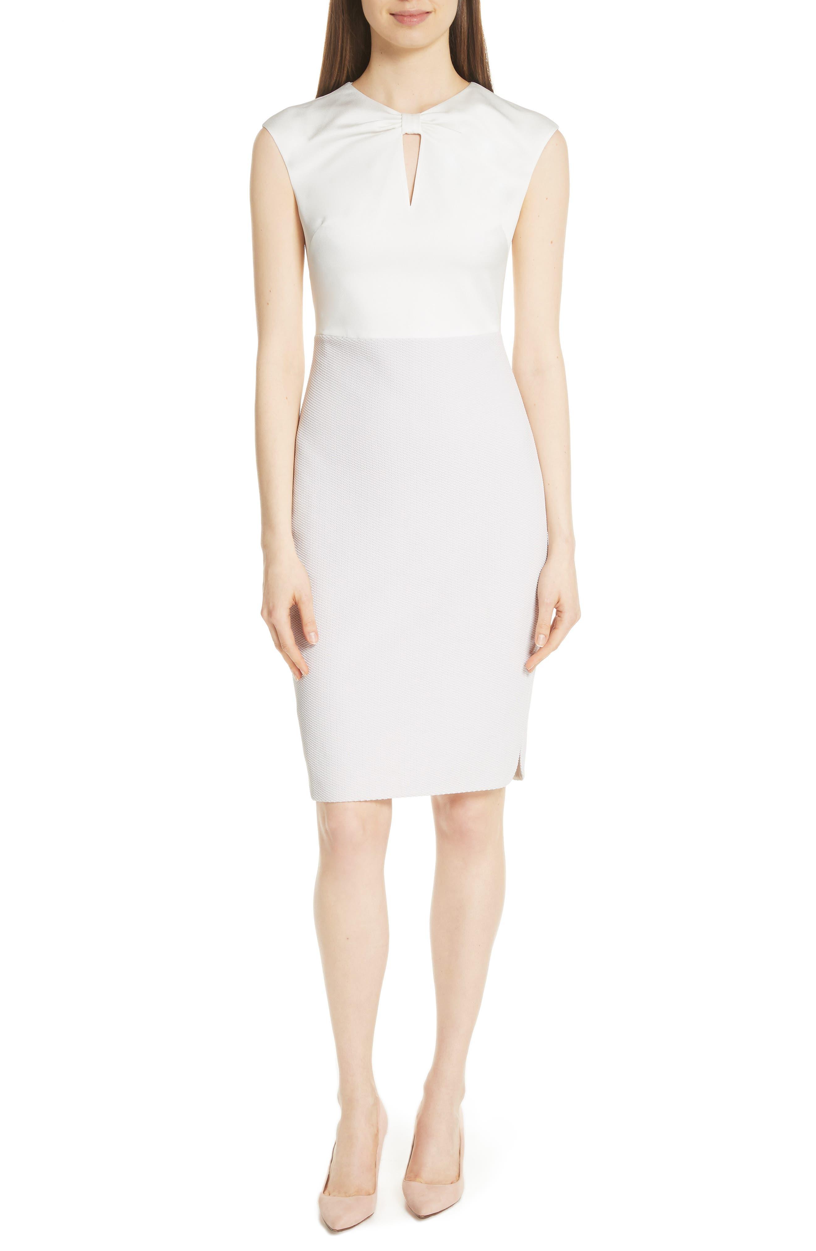 Mock Two-Piece Pencil Dress,                             Main thumbnail 1, color,                             Grey