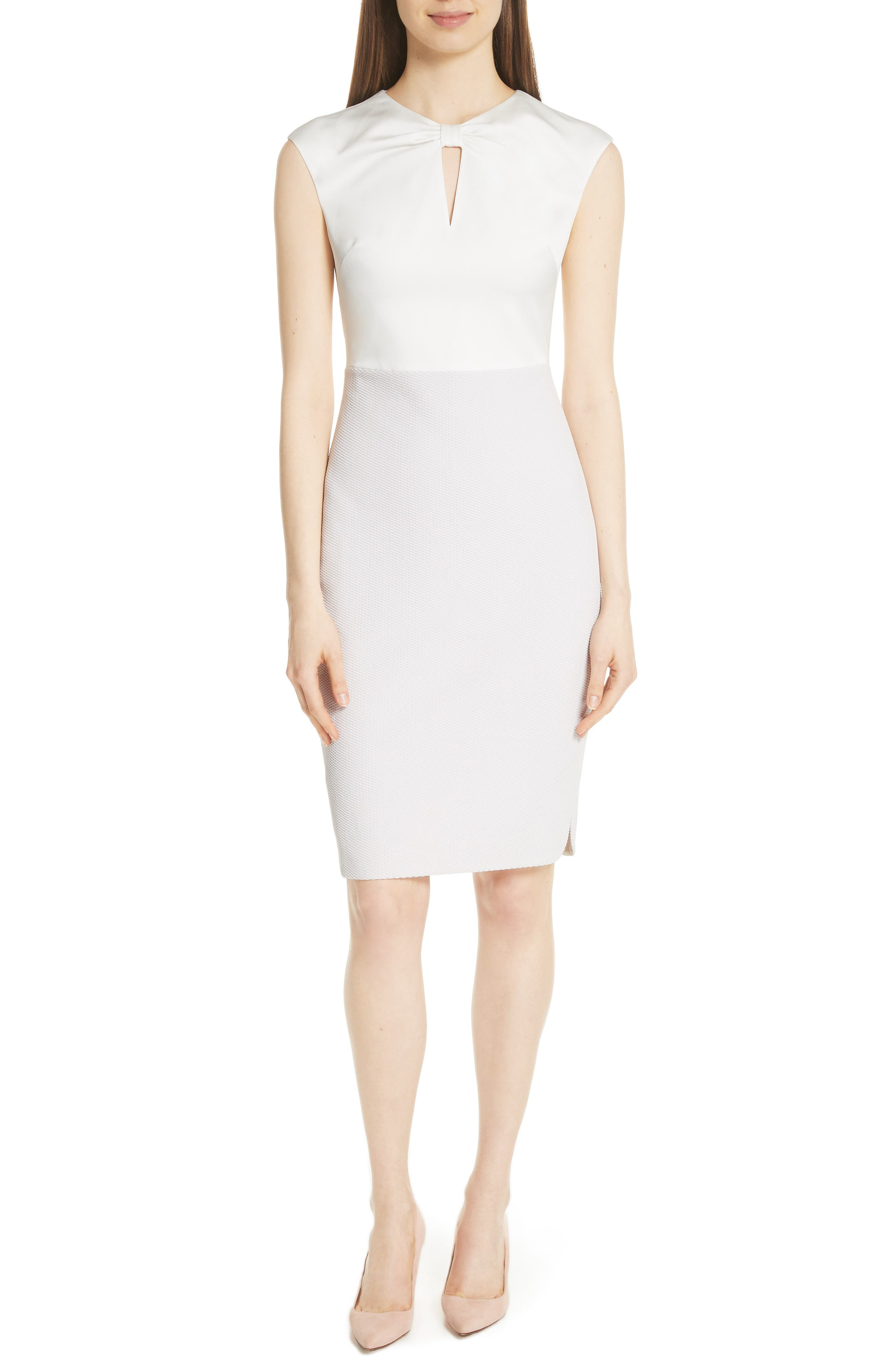 Mock Two-Piece Pencil Dress,                         Main,                         color, Grey