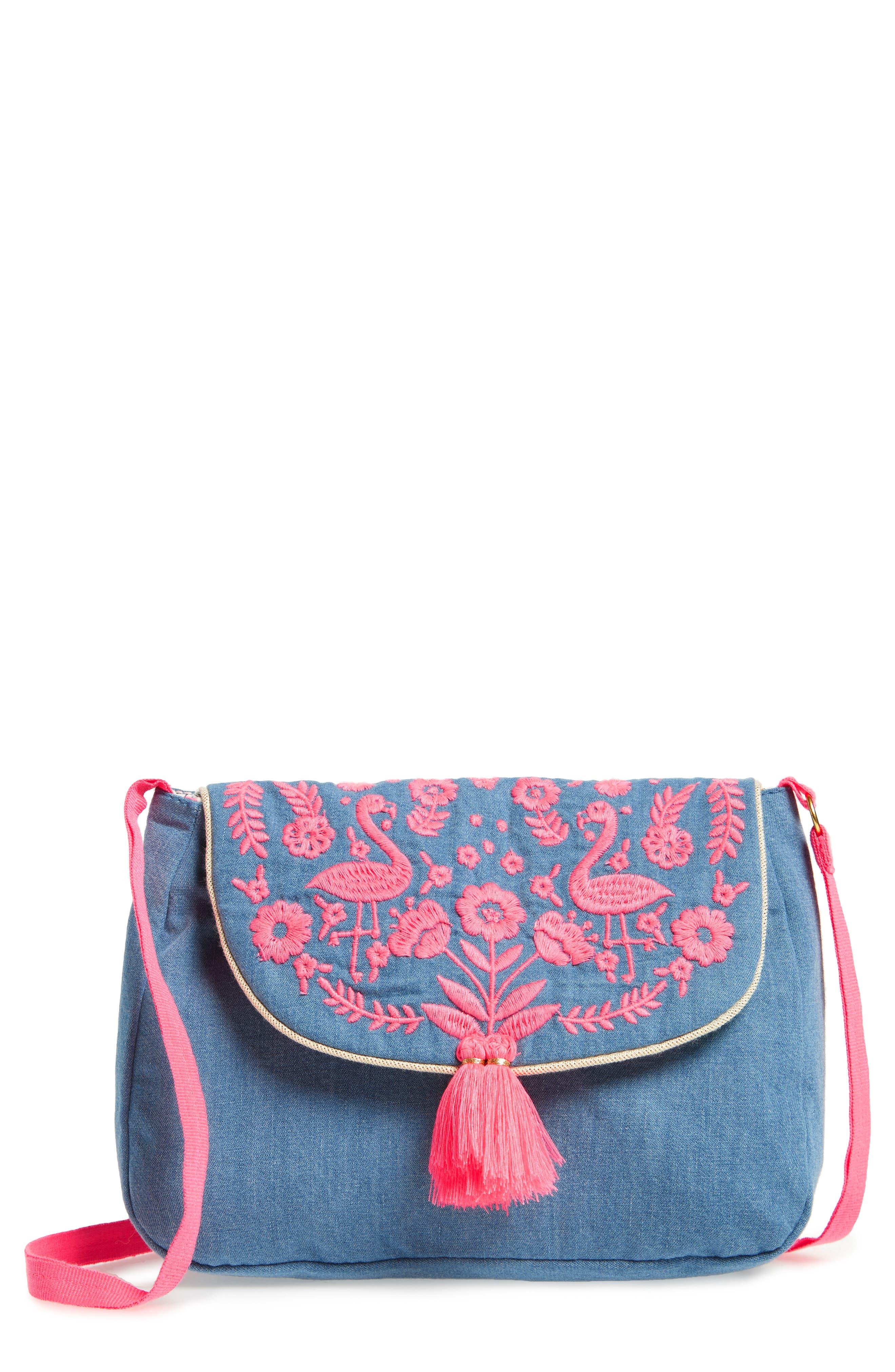 Embroidered Denim Shoulder Bag,                             Main thumbnail 1, color,                             Chambray Blue
