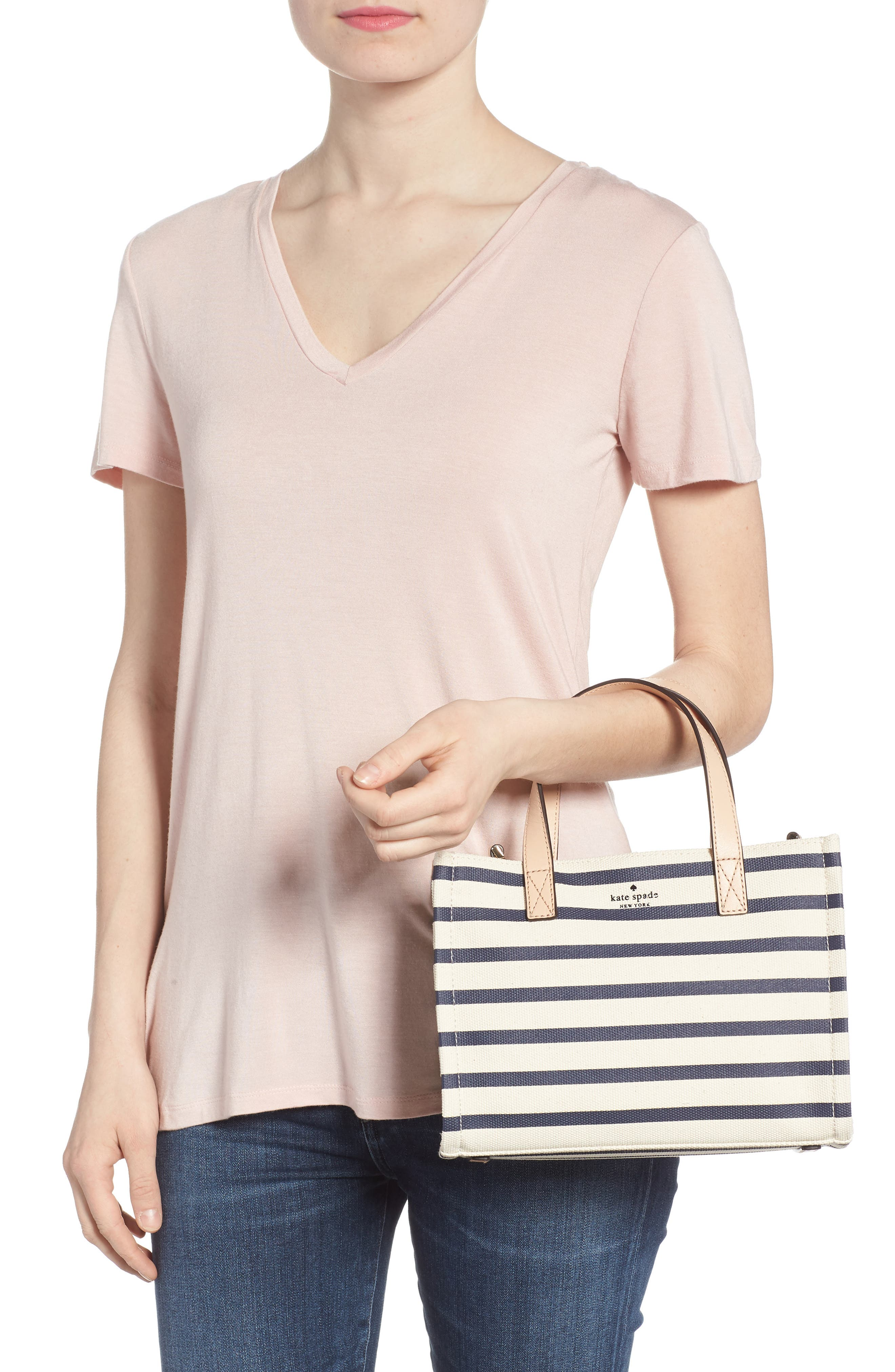 washington square - sam canvas handbag,                             Alternate thumbnail 2, color,                             Rich Navy Stripe