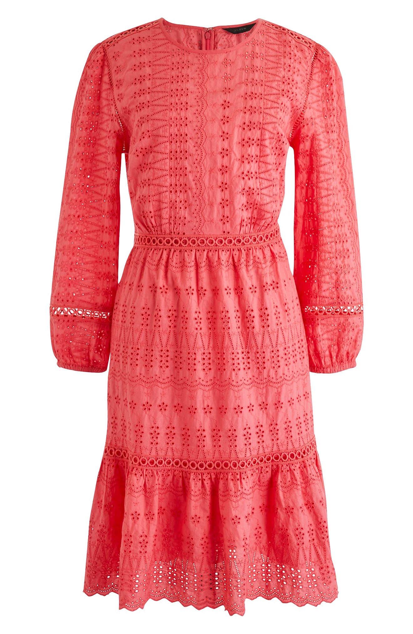 J.Crew Long Sleeve Embroidered Dress (Regular & Petite)