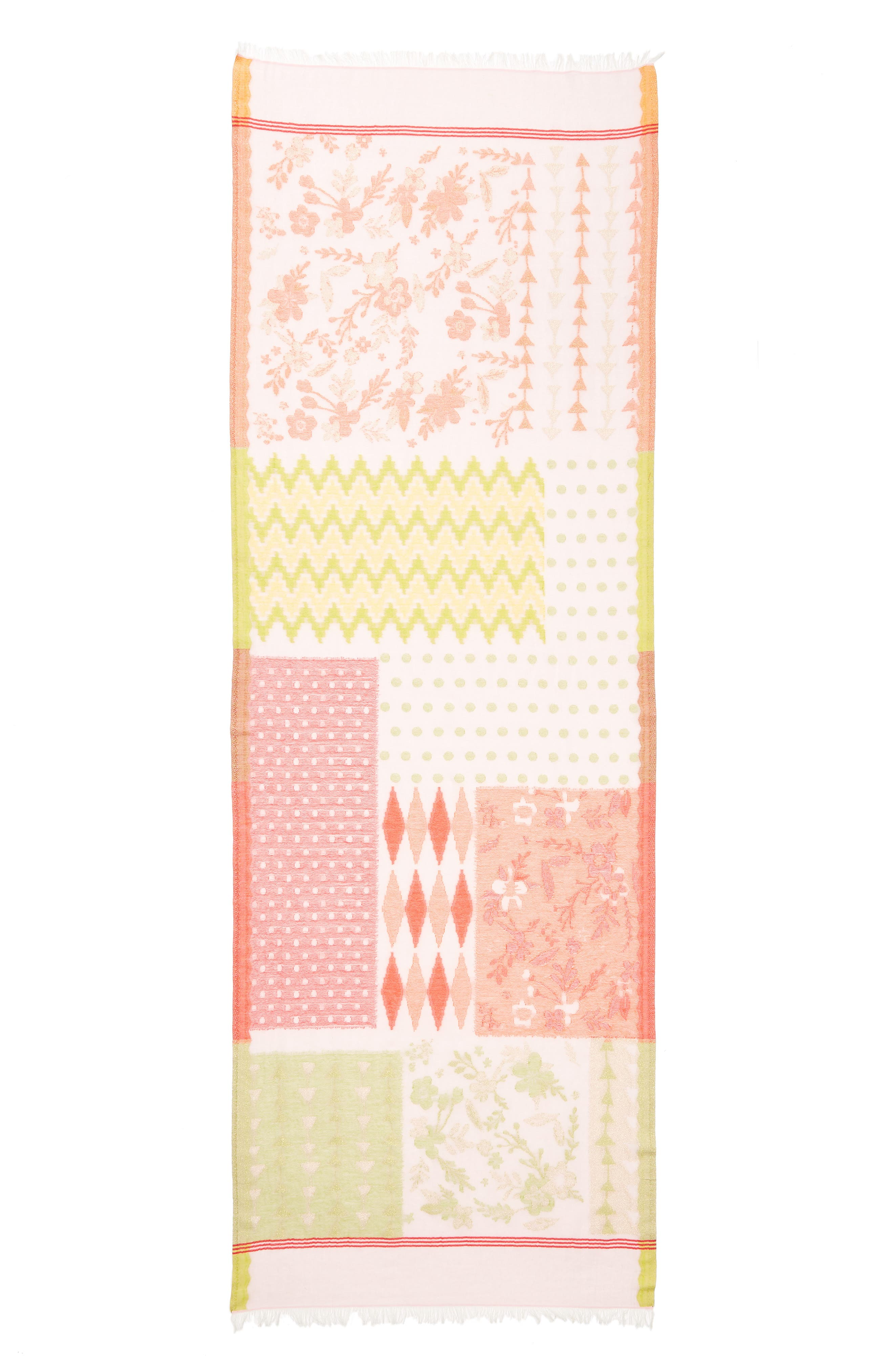 Patchwork Print Cotton Scarf,                             Alternate thumbnail 3, color,                             Pearl Pink