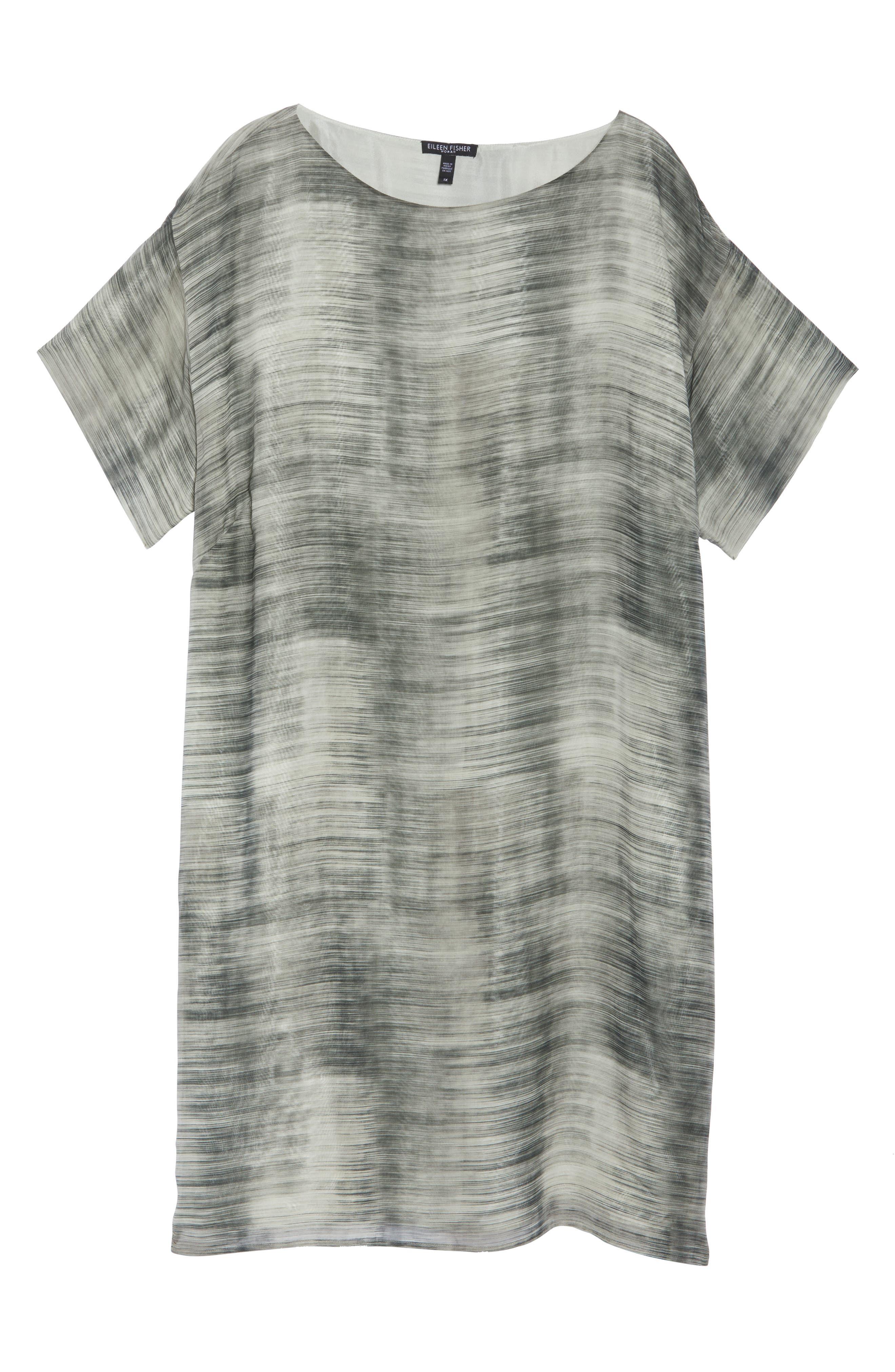 Bateau Neck Silk Shift Dress,                             Alternate thumbnail 7, color,                             Limestone