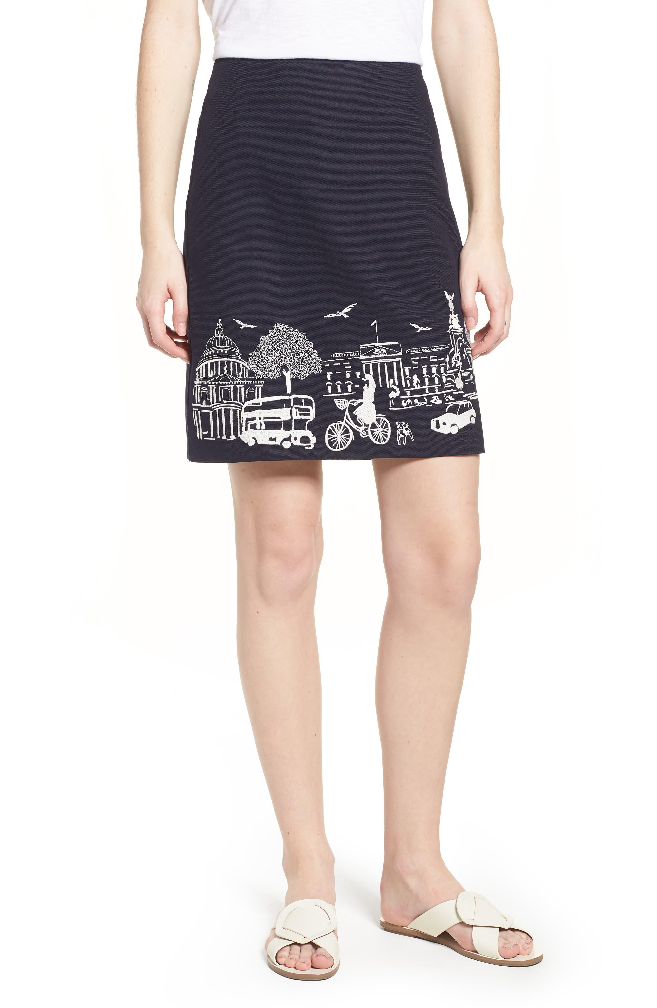 Tilda Embroidered Cotton Skirt,                             Main thumbnail 1, color,                             Navy