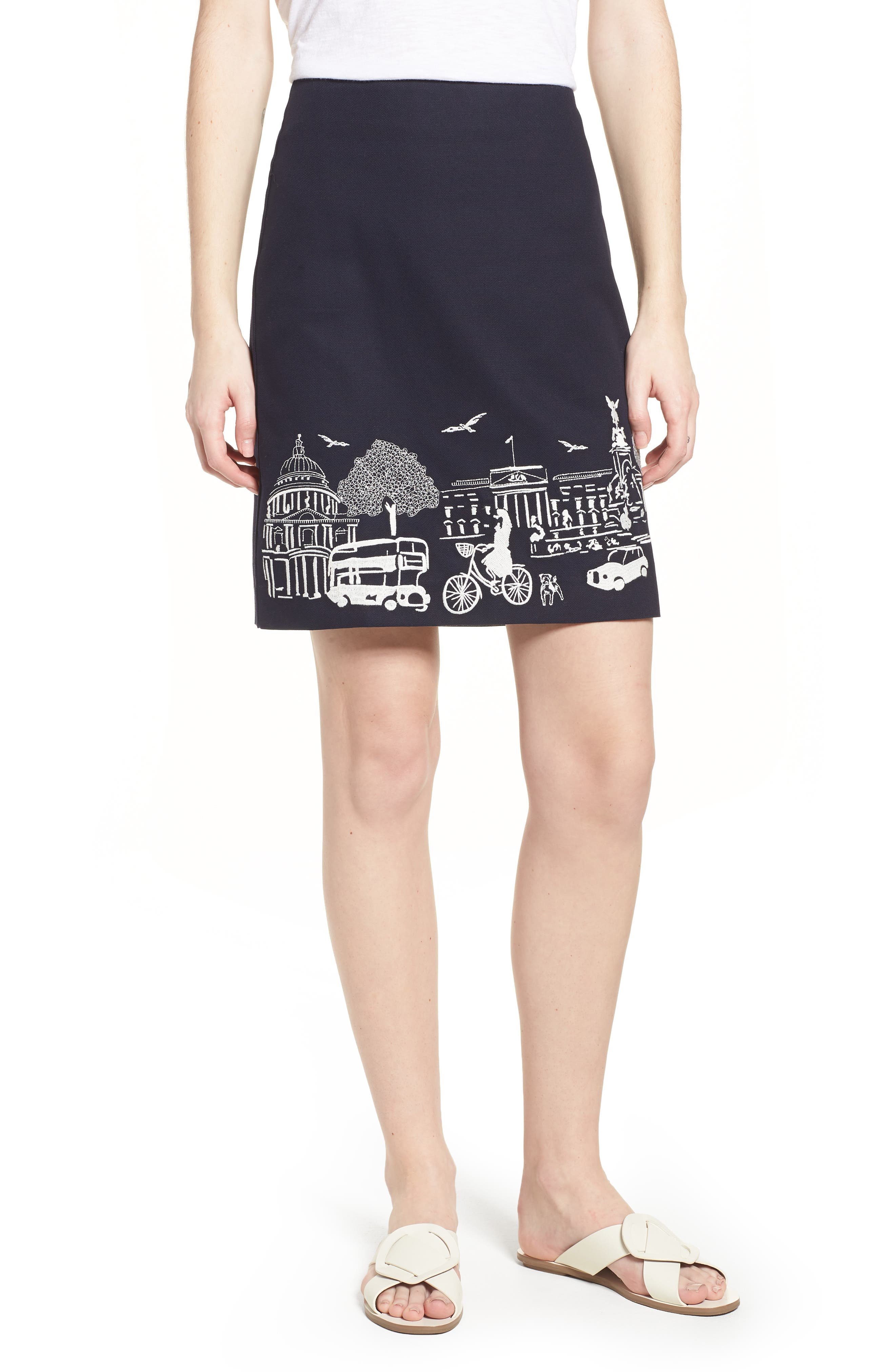 Tilda Embroidered Cotton Skirt,                         Main,                         color, Navy