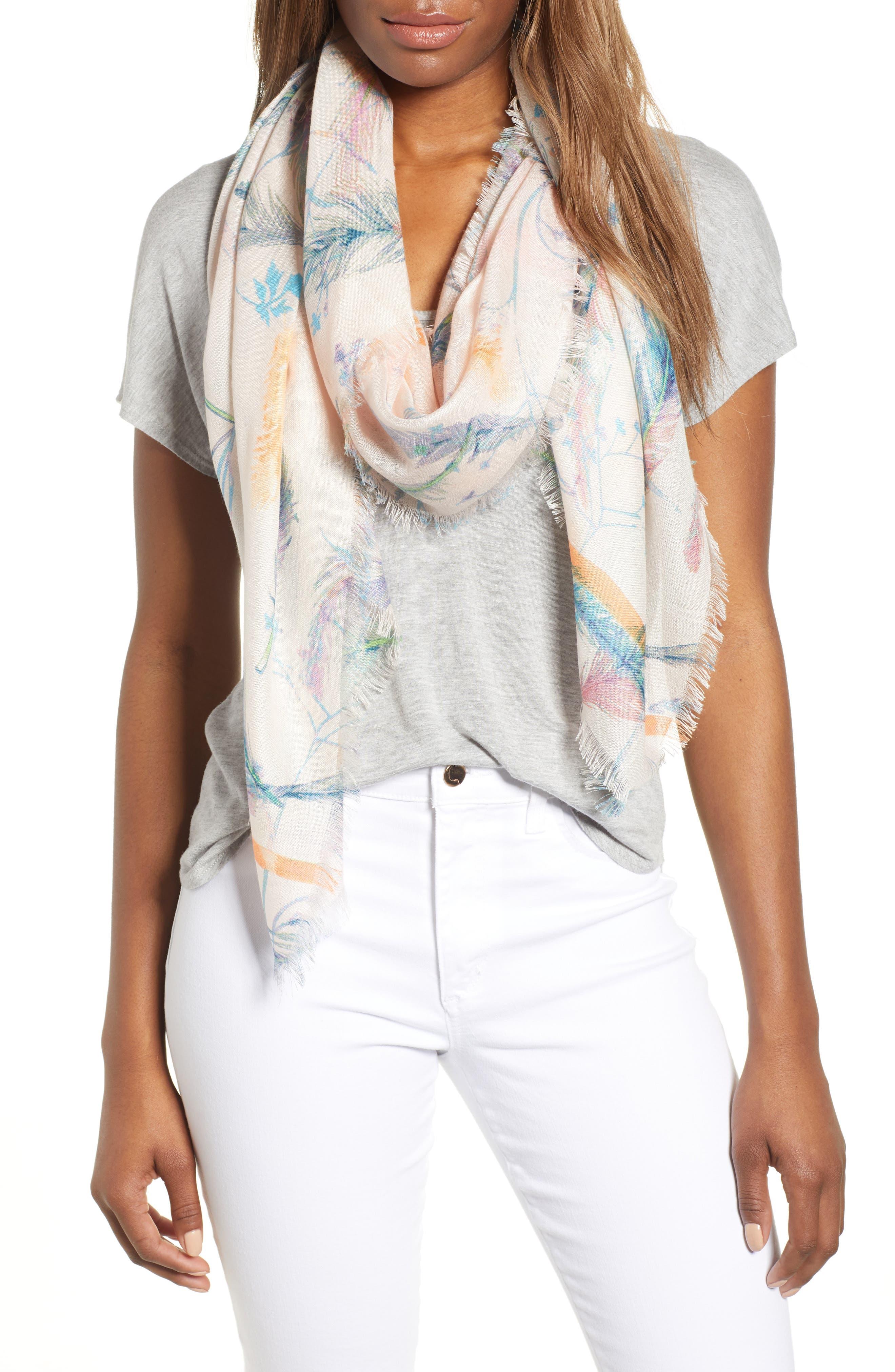 Eyelash Trim Print Cashmere & Silk Wrap,                         Main,                         color, Pink Fanciful Feathers