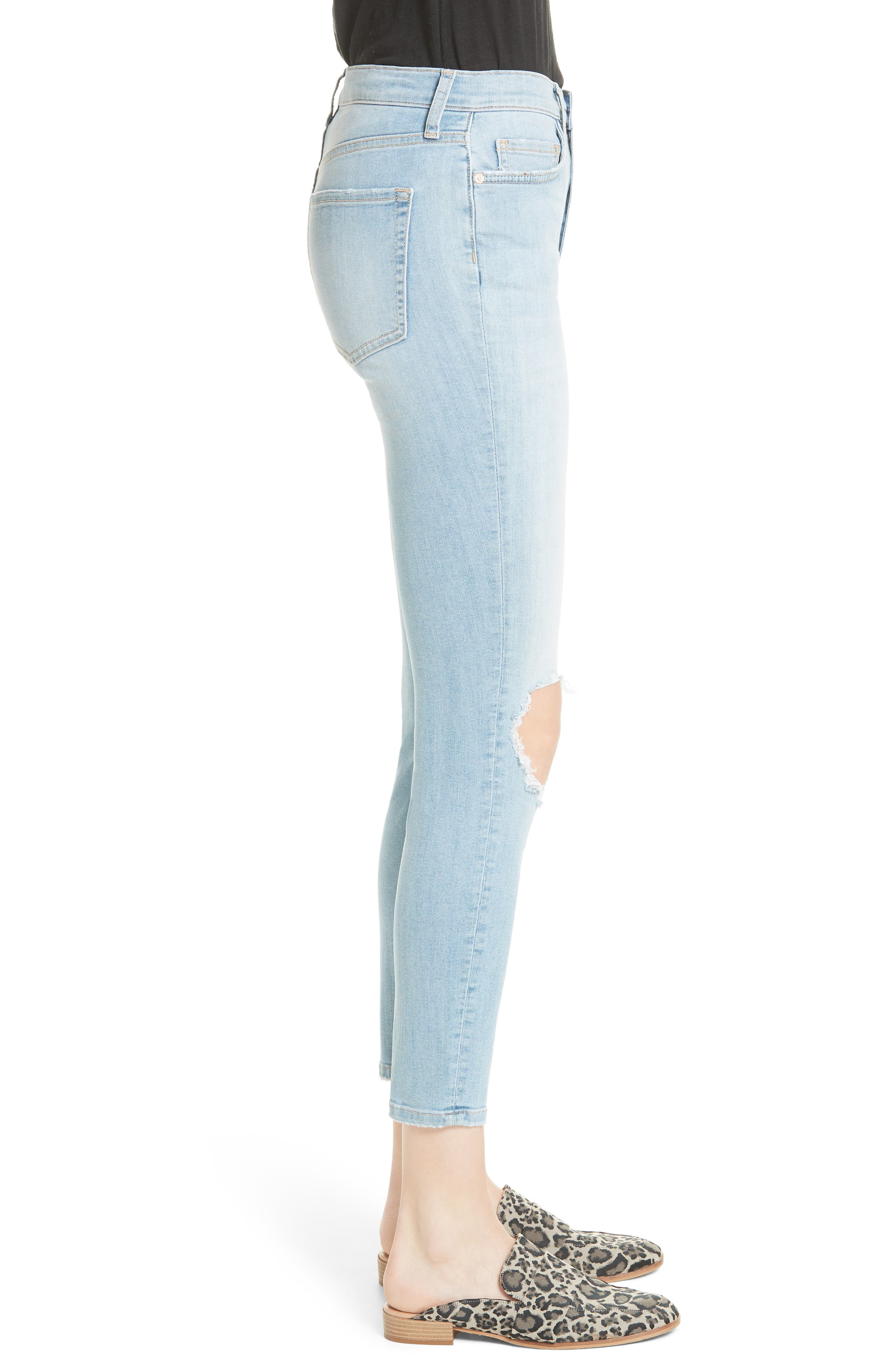 High Waist Ankle Skinny Jeans,                             Alternate thumbnail 3, color,                             Sky