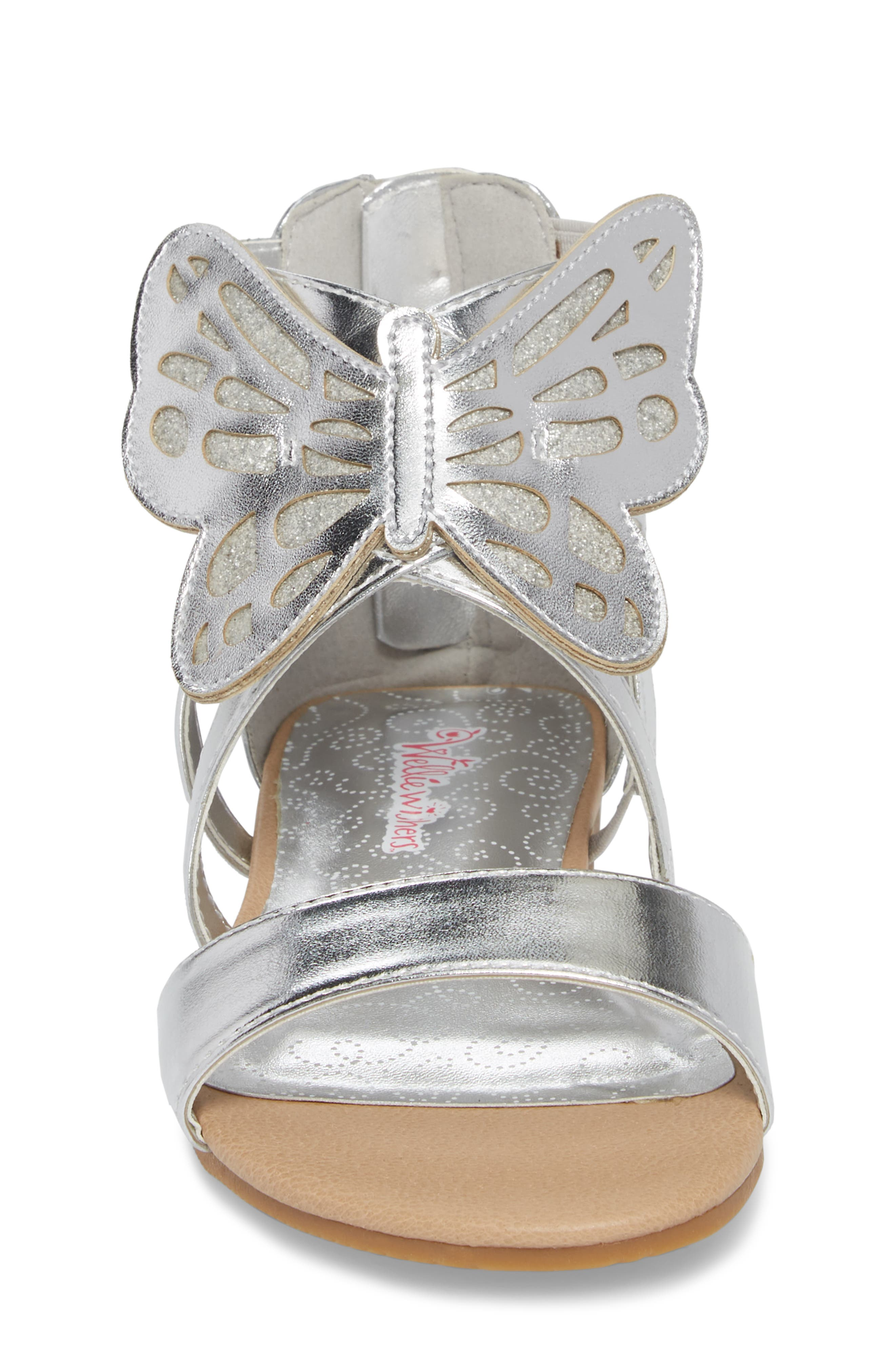 Willa Flutter Metallic Sandal,                             Alternate thumbnail 4, color,                             Silver Metallic