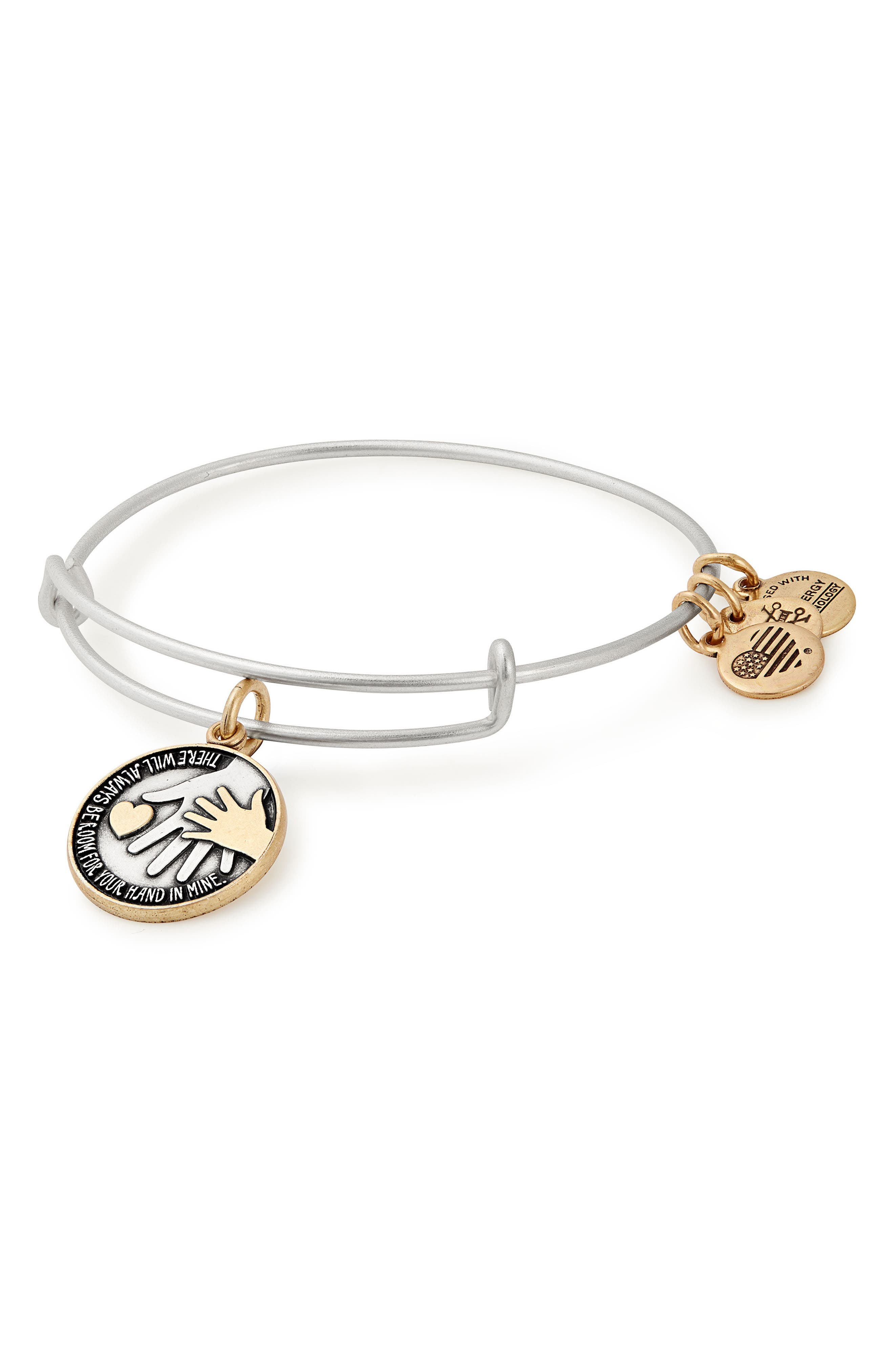 Hand in Hand Two-Tone Adjustable Bracelet,                             Main thumbnail 1, color,                             Silver