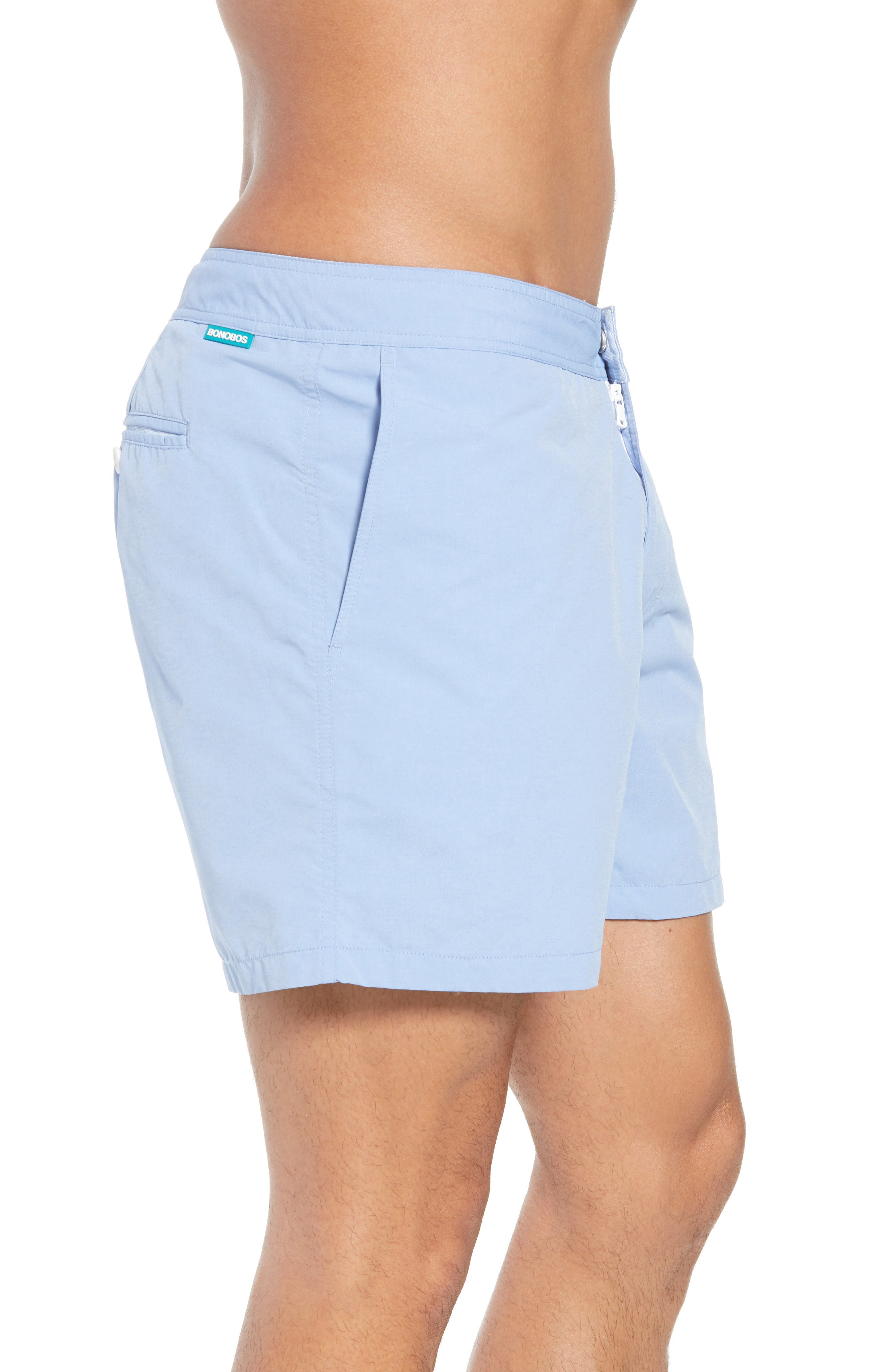 Solid 5-Inch Swim Trunks,                             Alternate thumbnail 3, color,                             Blue Chambray