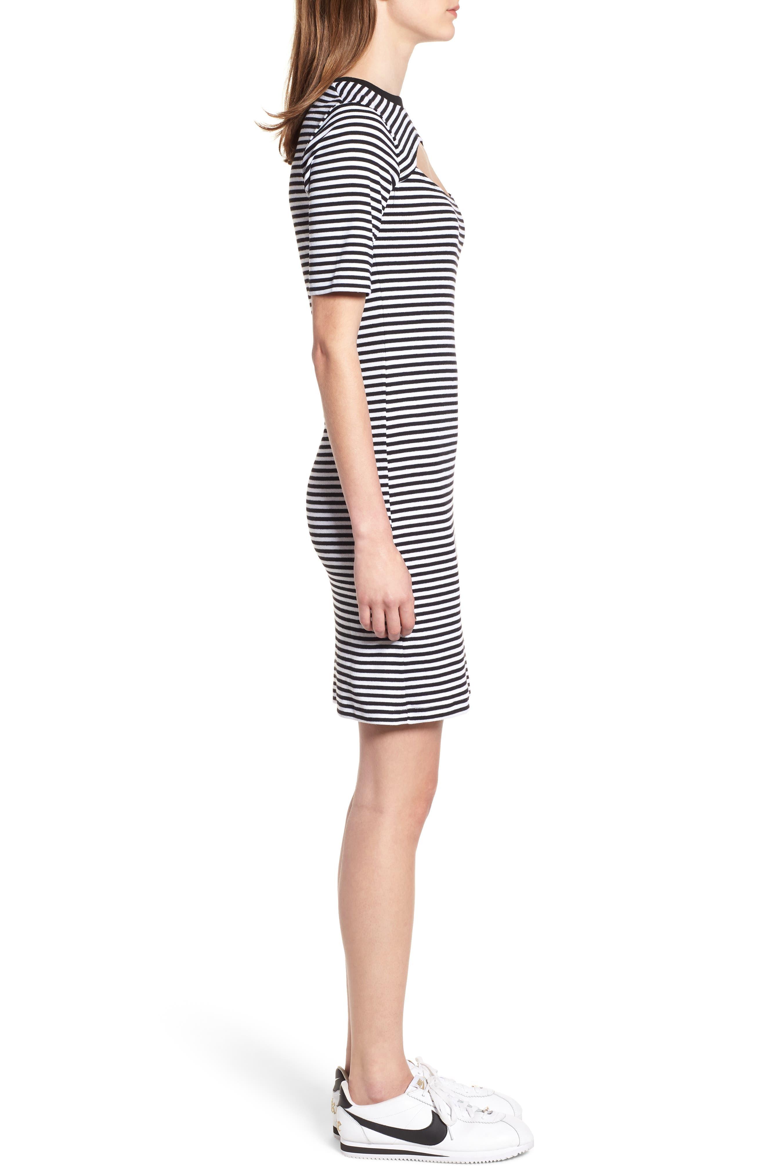 Stripe Cutout Dress,                             Alternate thumbnail 3, color,                             Black W White