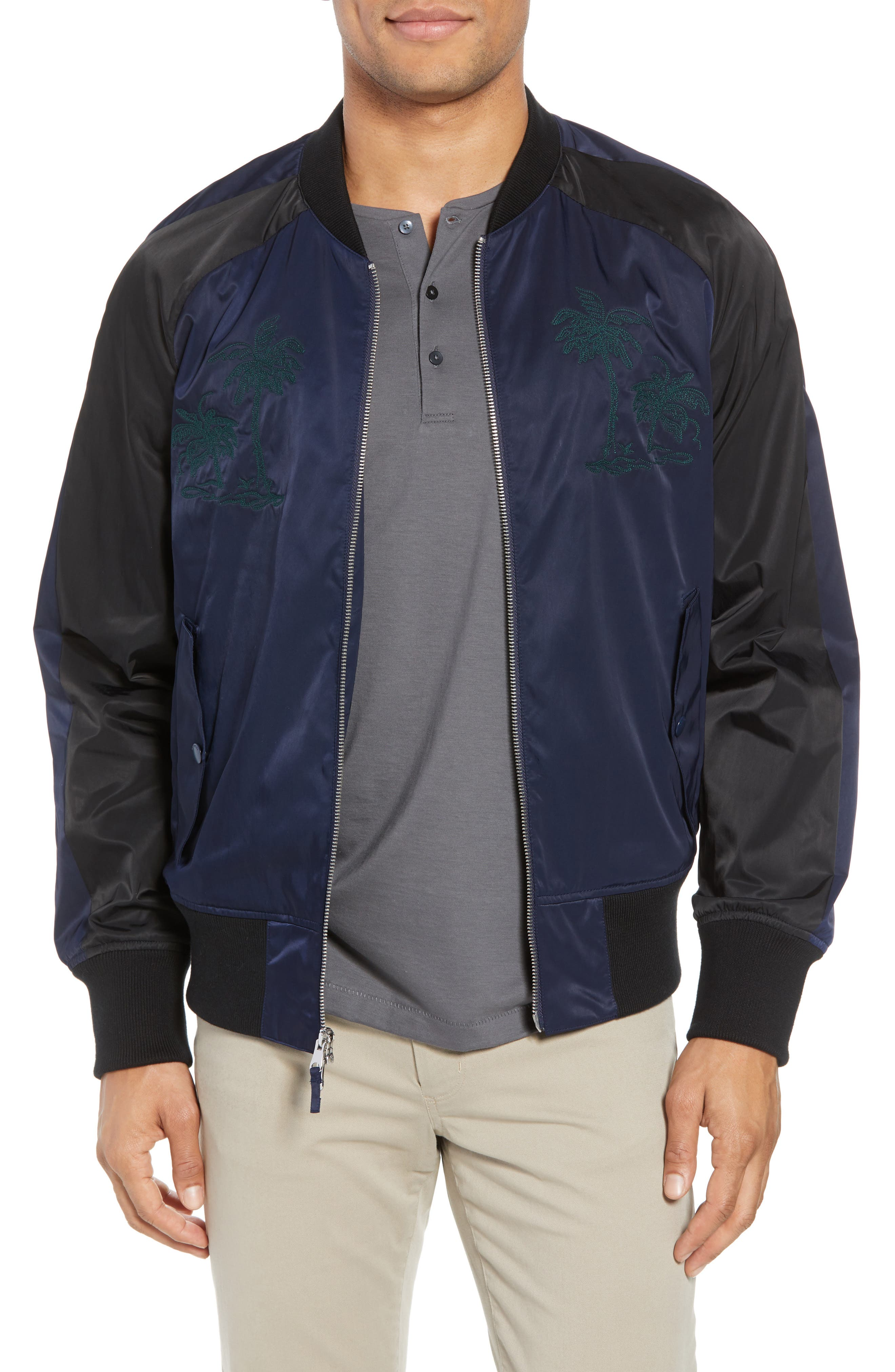 Souvenir Bomber Jacket,                         Main,                         color, Embroidered Palm - Navy